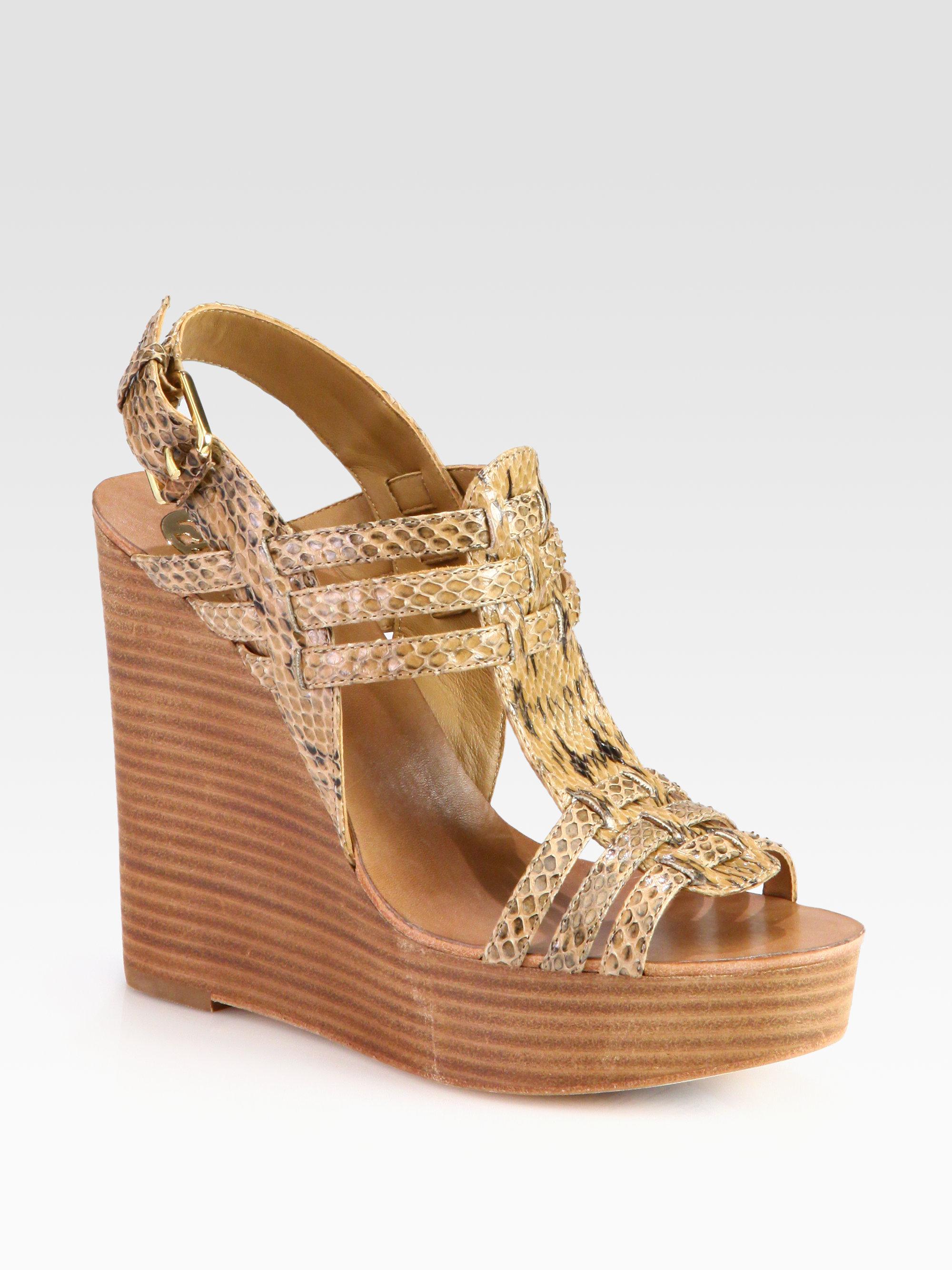 6c3b4c2598719 Lyst - Tory Burch Leslie Snakeskin Wedge Sandals in Natural