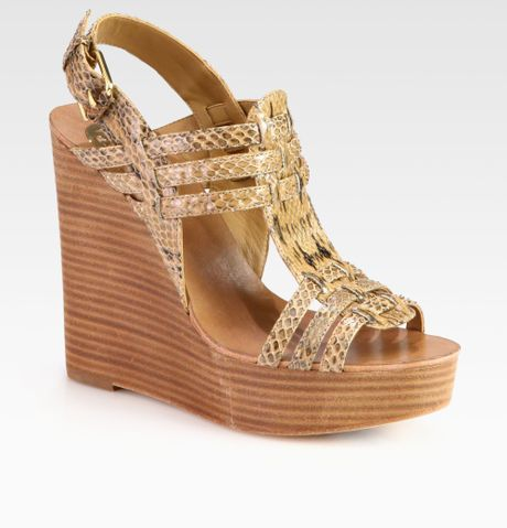 burch leslie snakeskin wedge sandals in khaki clay