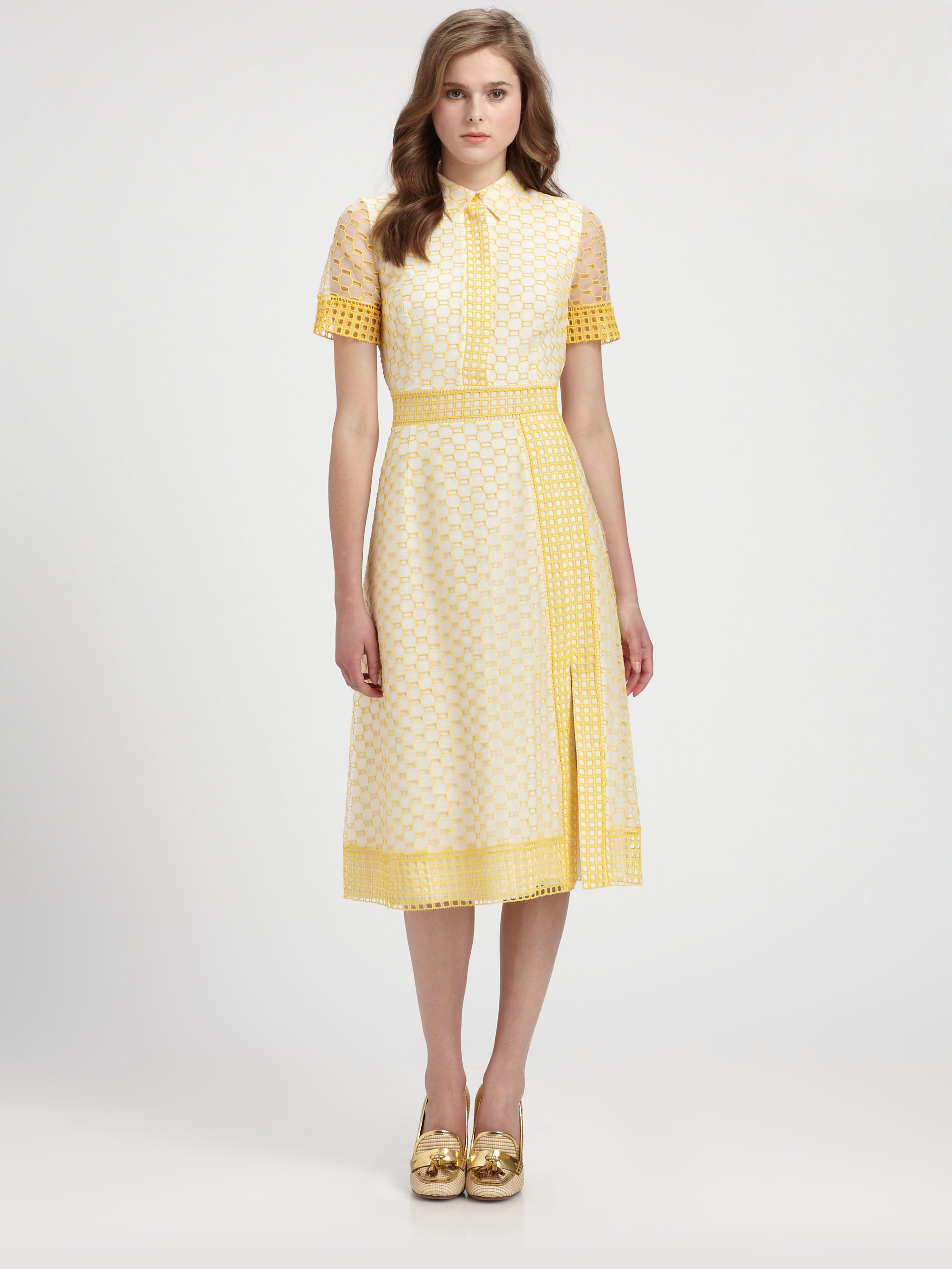 5c209a71c9a6 Lyst - Tory Burch Isidor Dress in Yellow