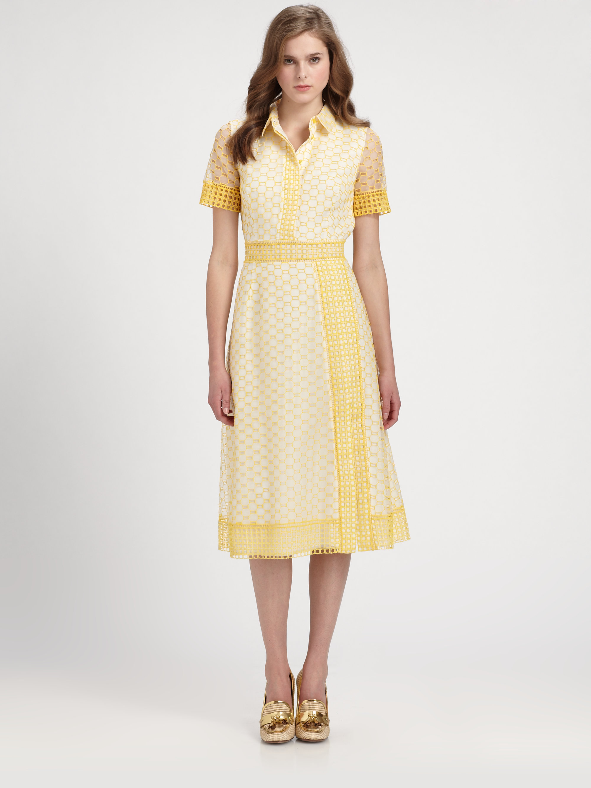 Tory burch isidor dress in yellow lyst for Tory burch fashion island