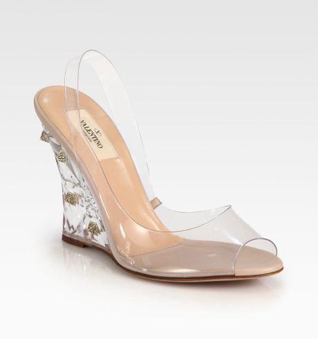 valentino rockstud lucite wedge sandals in
