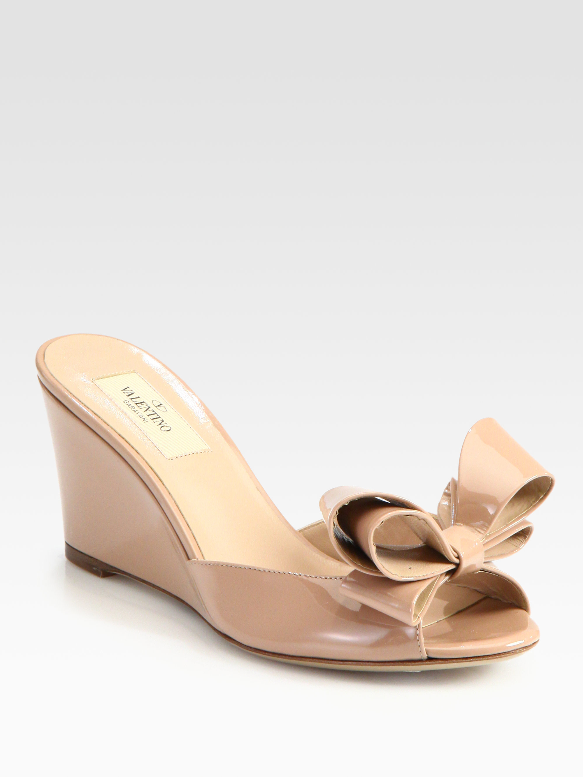Valentino Patent Leather Bow Wedges visit new cheap online free shipping with mastercard CYe4V5