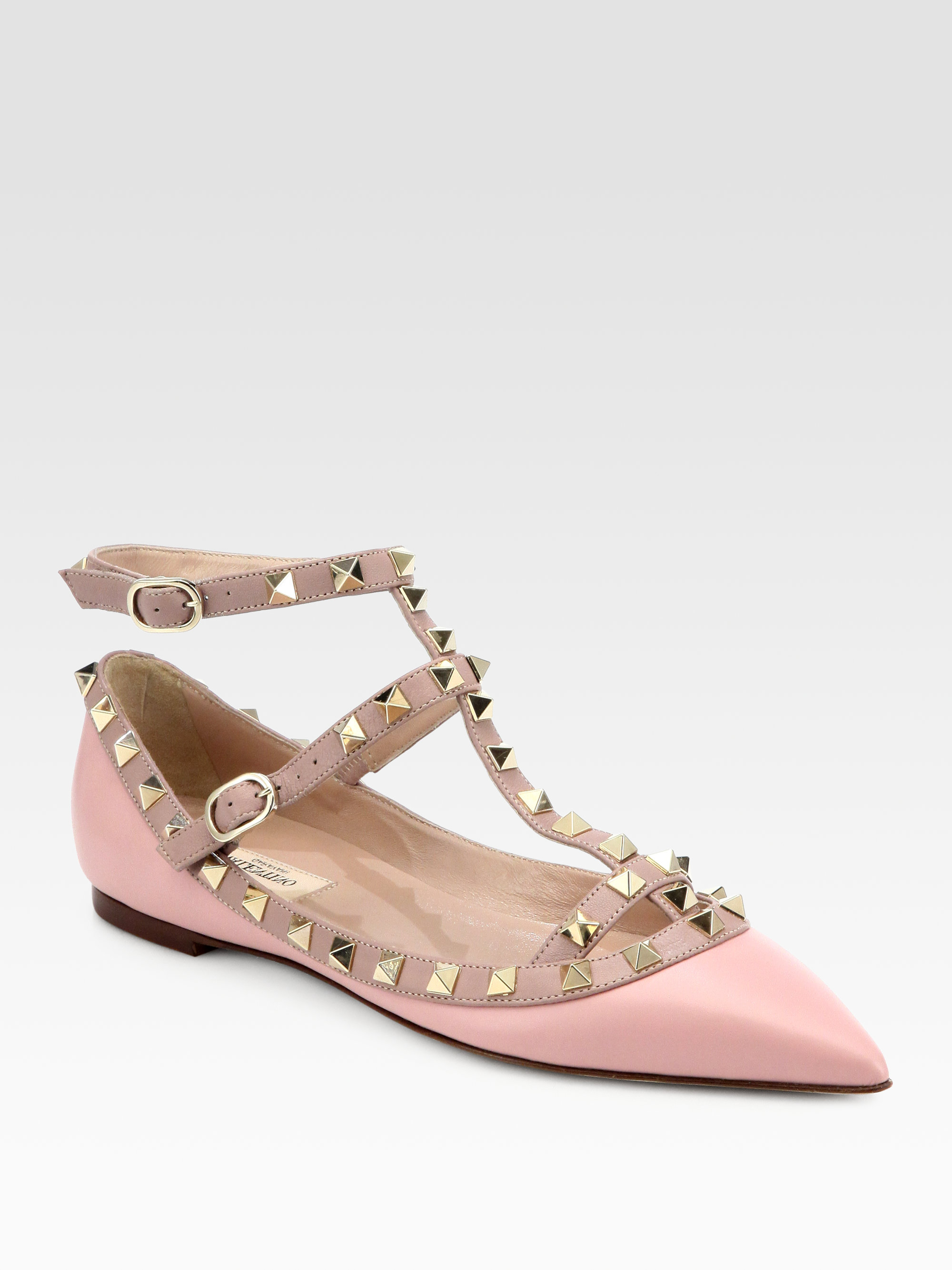 Valentino Leather Rockstud Cage Flats in Pink (light pink) | Lyst