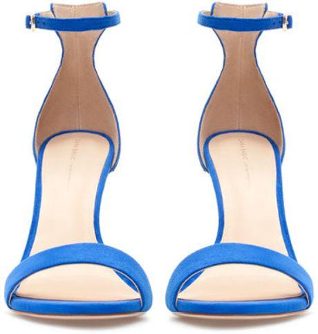 Zara Combination High Heel Sandals In Blue Lyst