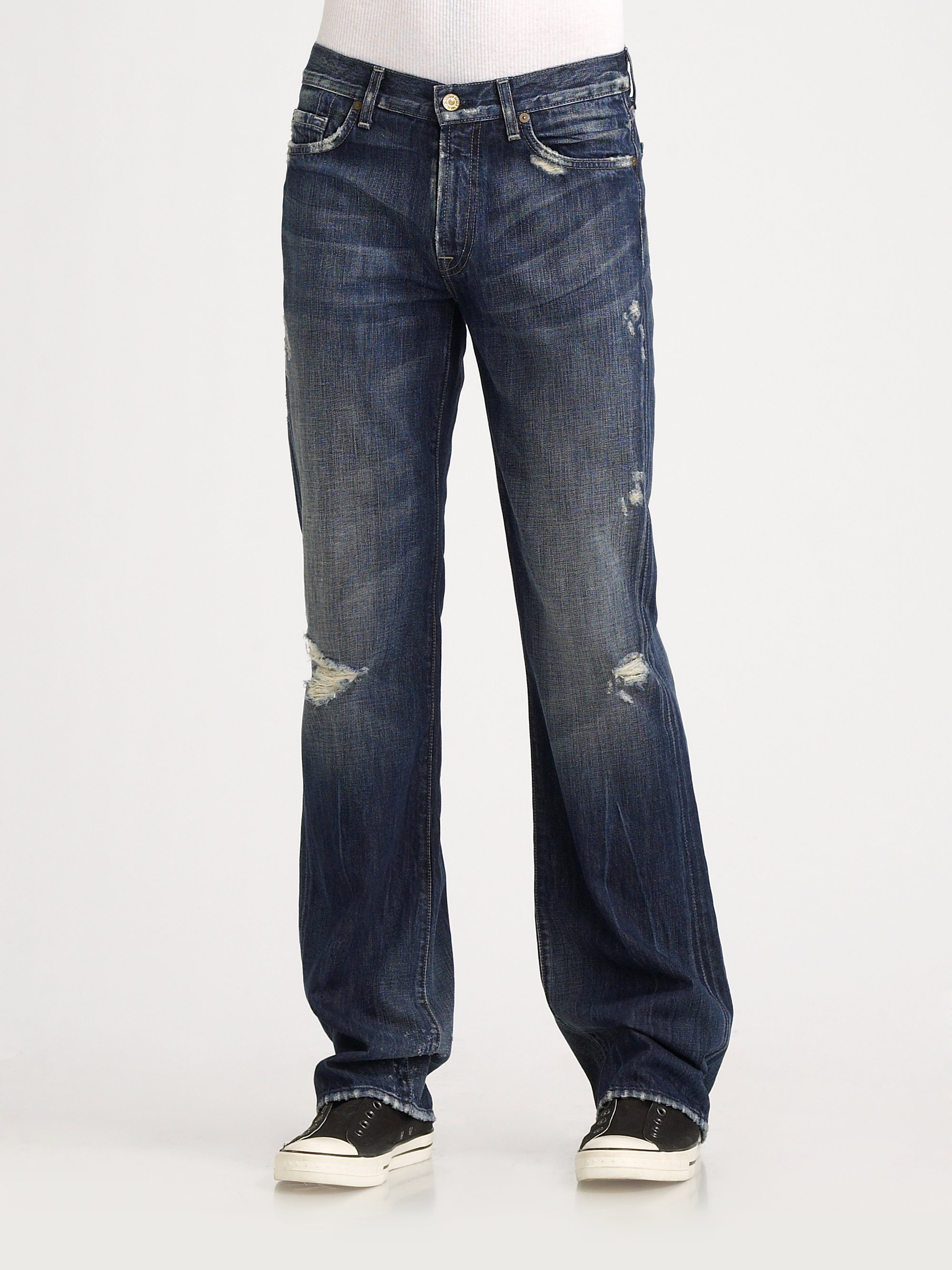 7 For All Mankind Distressed Bootcut Jeans in Blue for Men ...