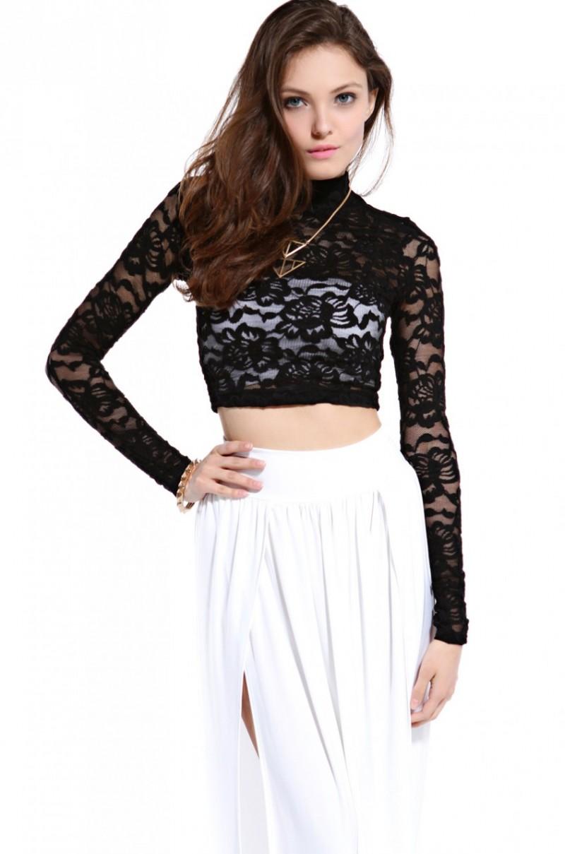 ef6c551f684 AKIRA Long Sleeve Lace Crop Top in Black in Black - Lyst