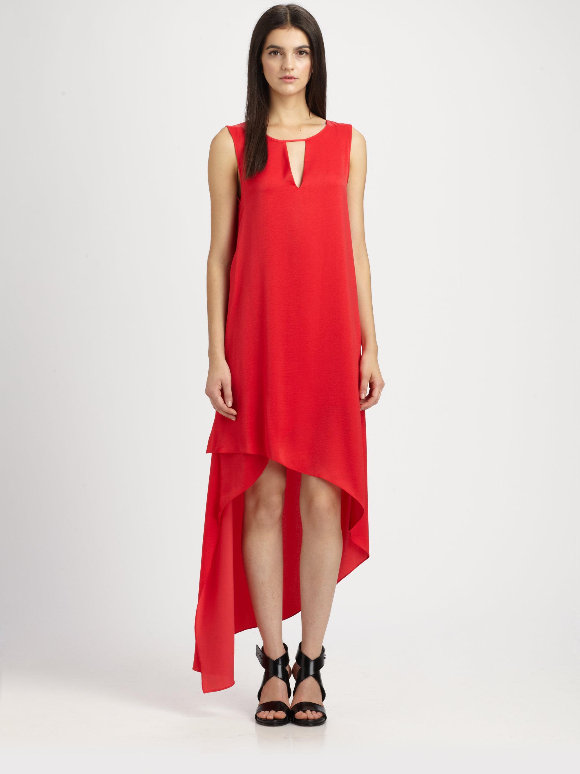 Bcbgmaxazria Willow Asymmetric Matte Satin Dress In Red Lyst
