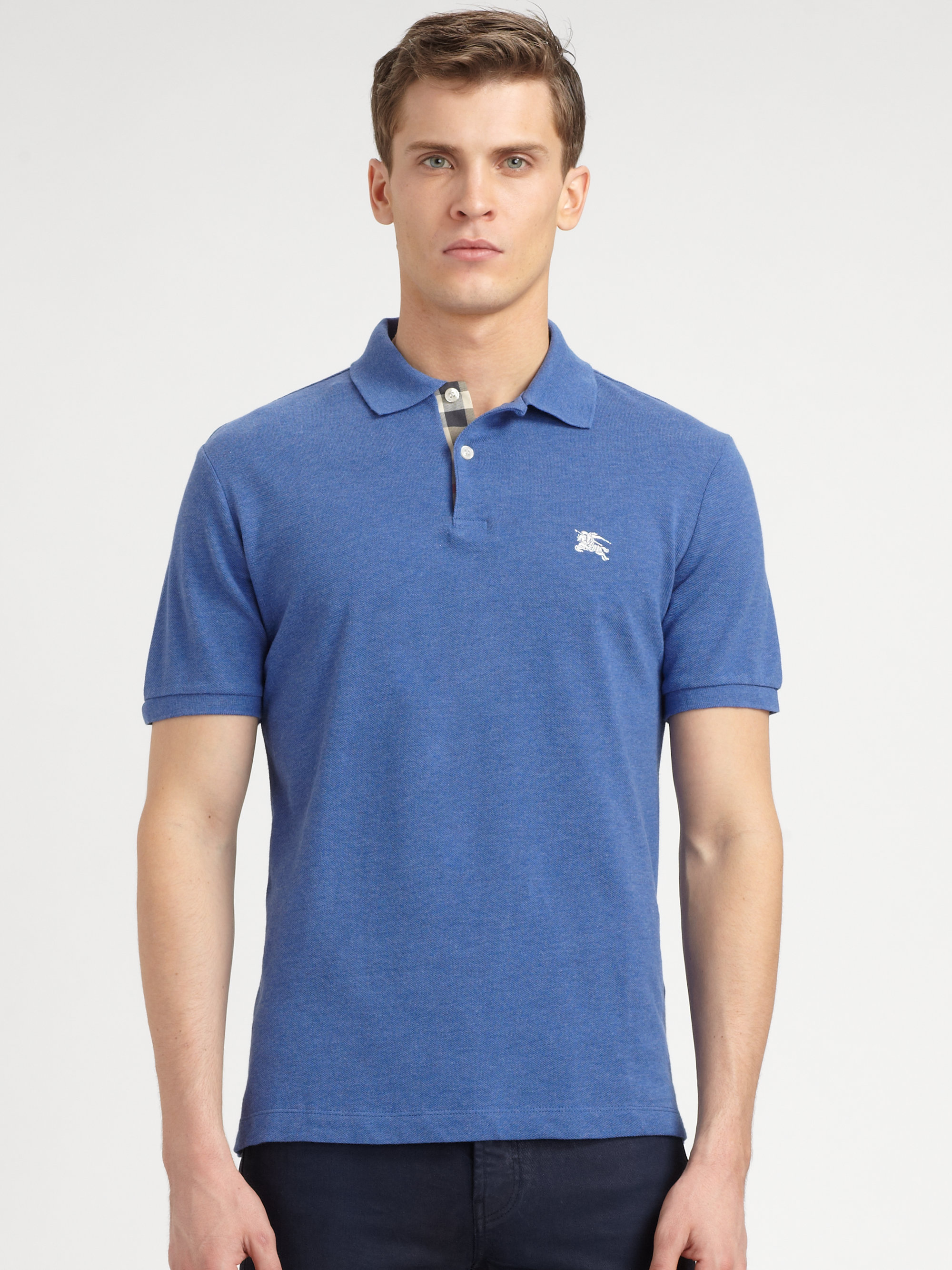 Burberry Brit Cotton Polo Shirt In Blue For Men Lyst