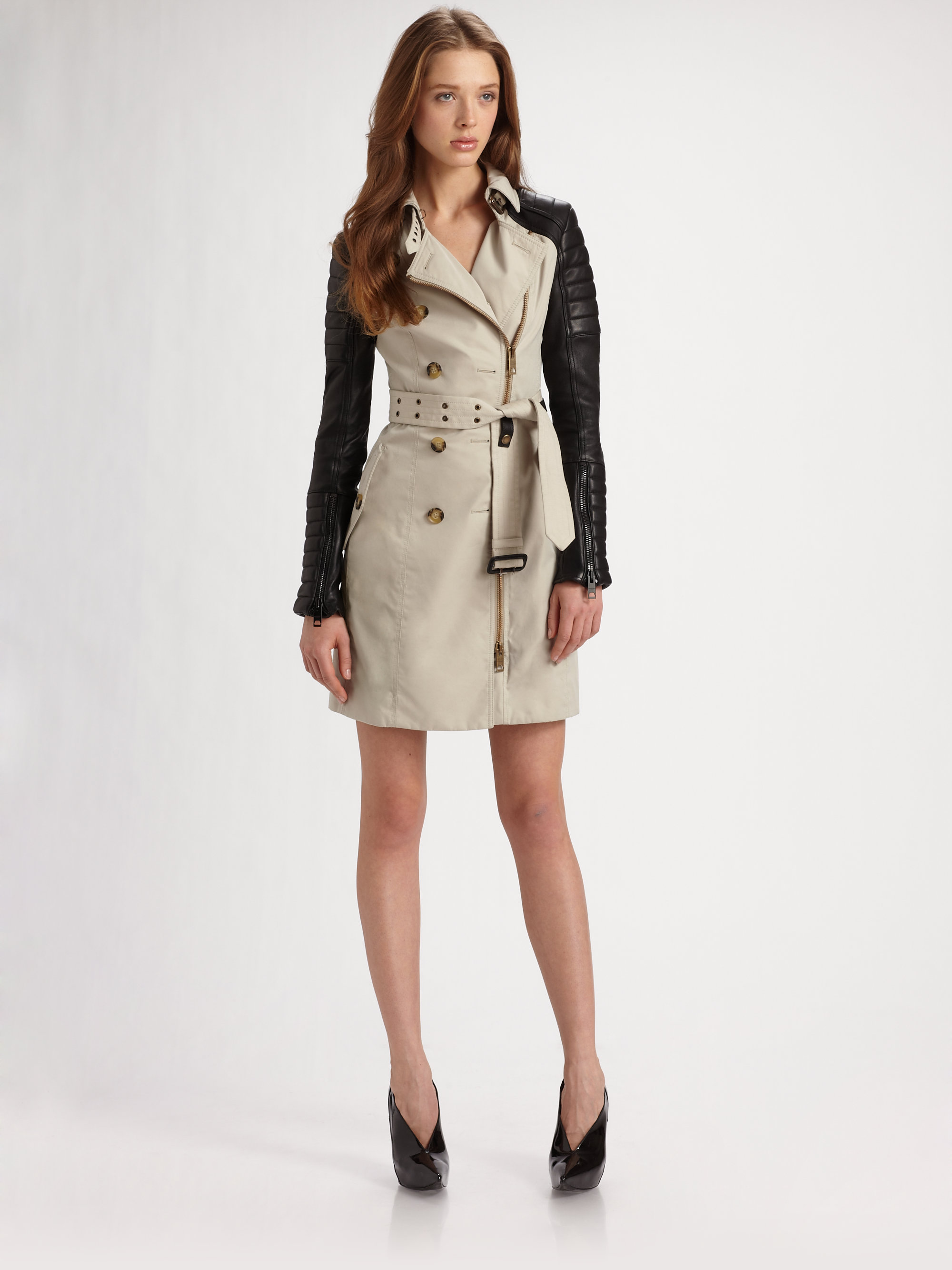 Trench Coat With Leather Sleeves Photo Album - Reikian