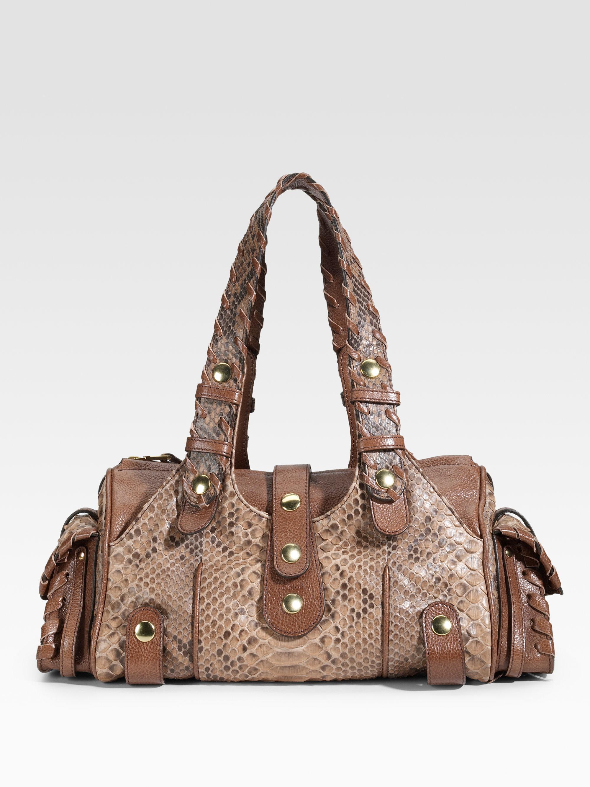 Chlo¨¦ Silverado Python Shoulder Bag in Brown (tan) | Lyst