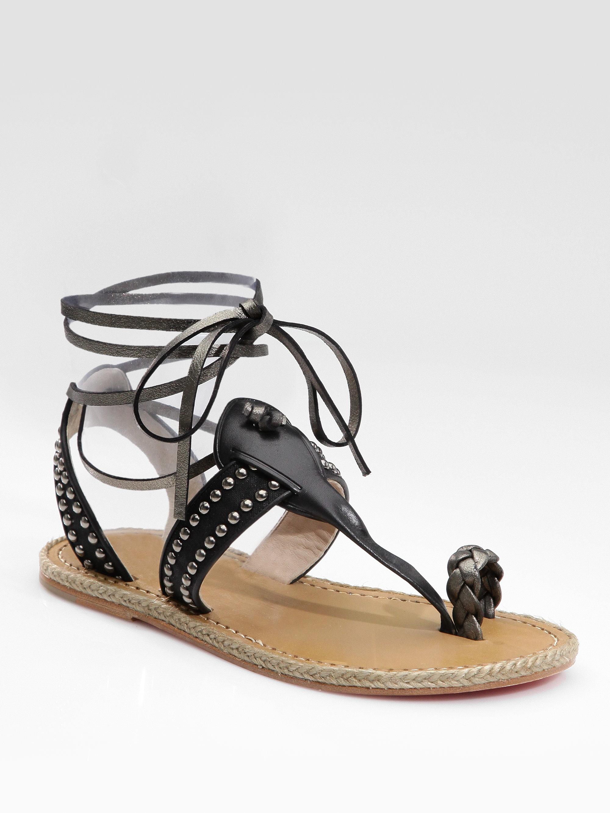 20ea6502fef1 ... norway lyst christian louboutin flat gladiator sandals in black 0c89b  7ea47