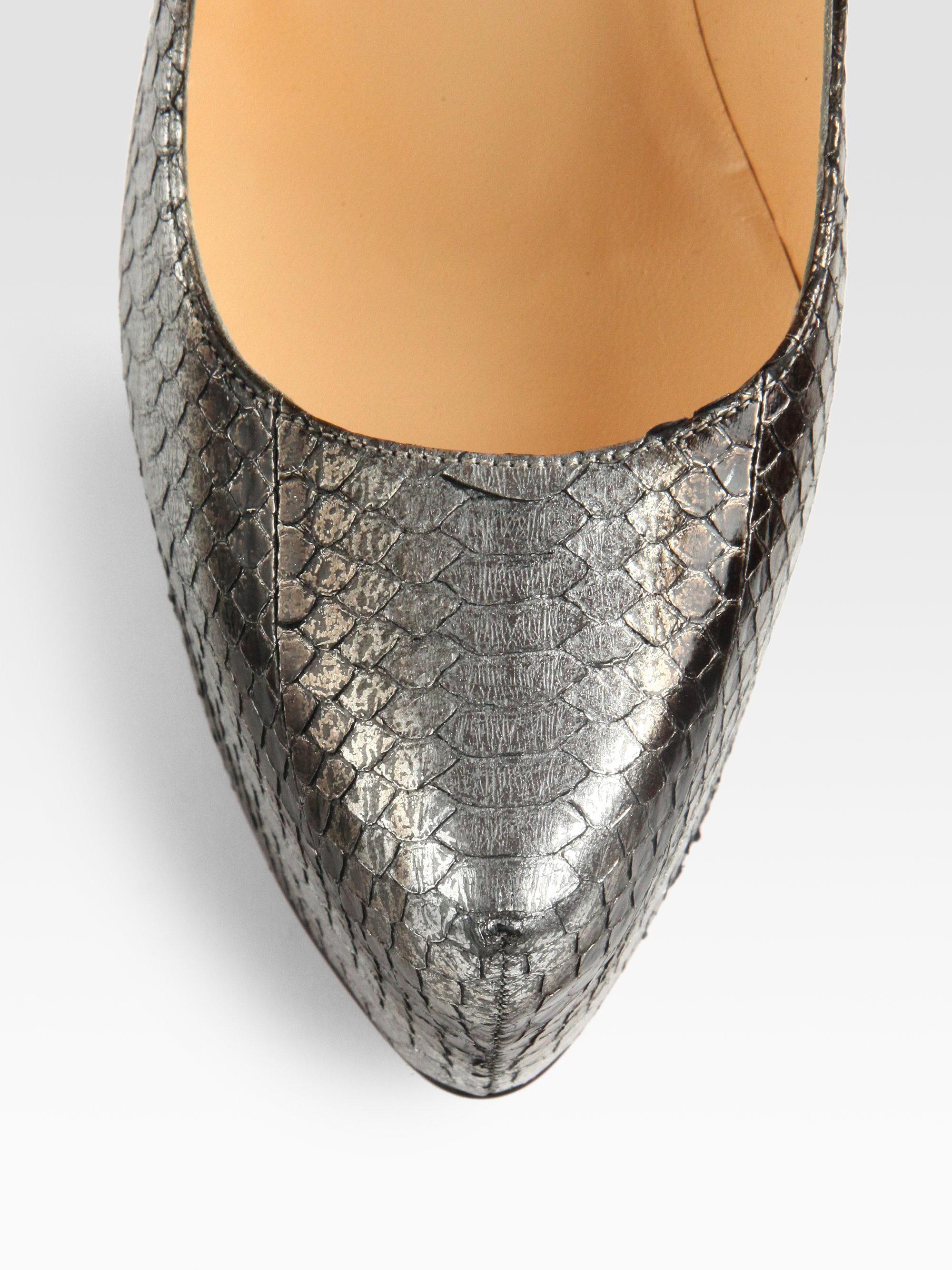 christian louboutin replica mens shoes - christian louboutin peep-toe pumps Silver metallic snakeskin | The ...