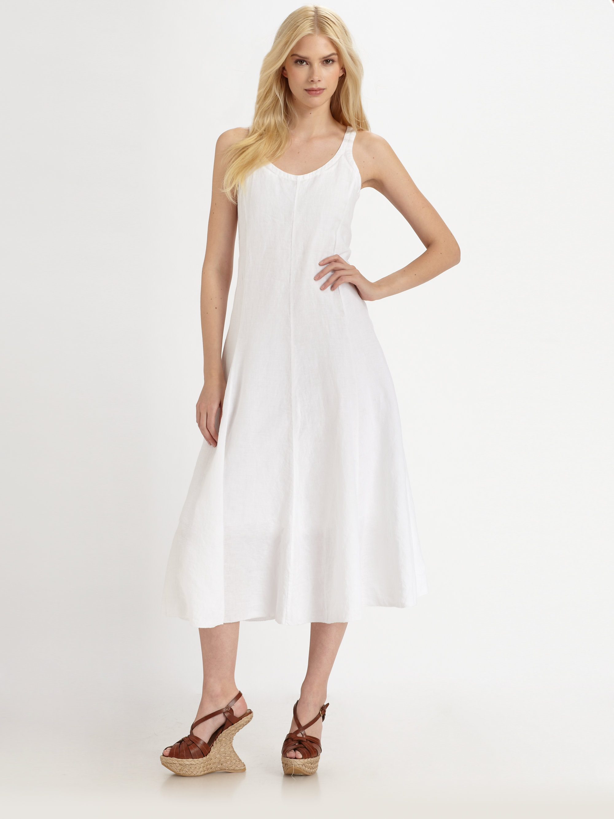 Eileen Fisher Handkerchief Linen Dress In White Lyst