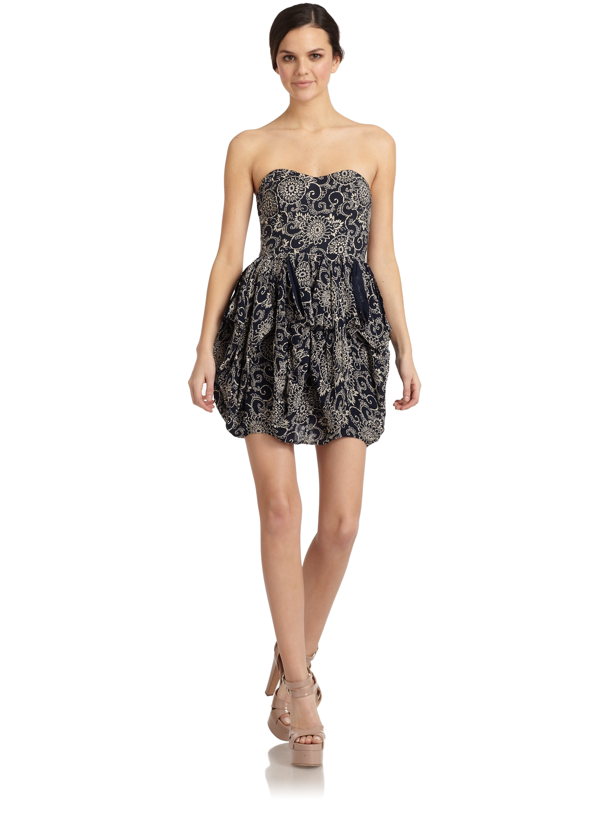 French connection Wonder Flower Strapless Bubble Dress in Black | Lyst