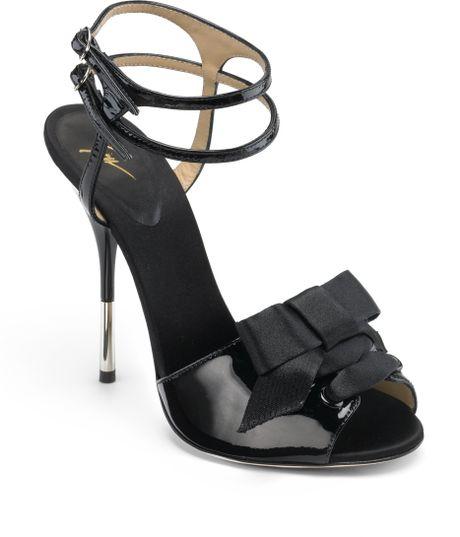 giuseppe zanotti bow high heel sandals in black lyst