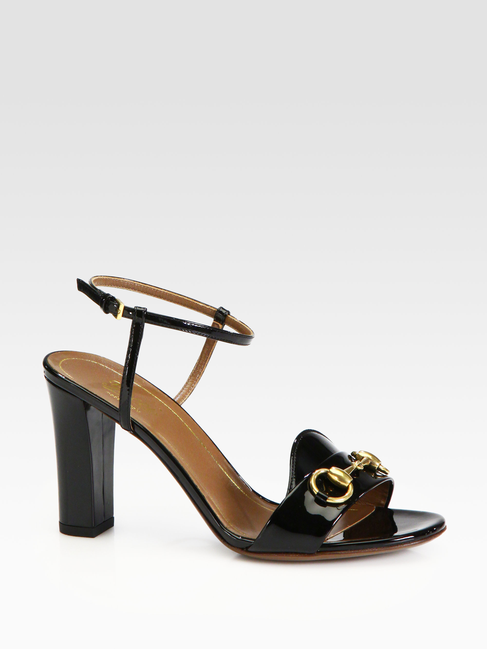 899ee4ca830697 Lyst - Gucci Patent Leather Horsebit Sandals in White