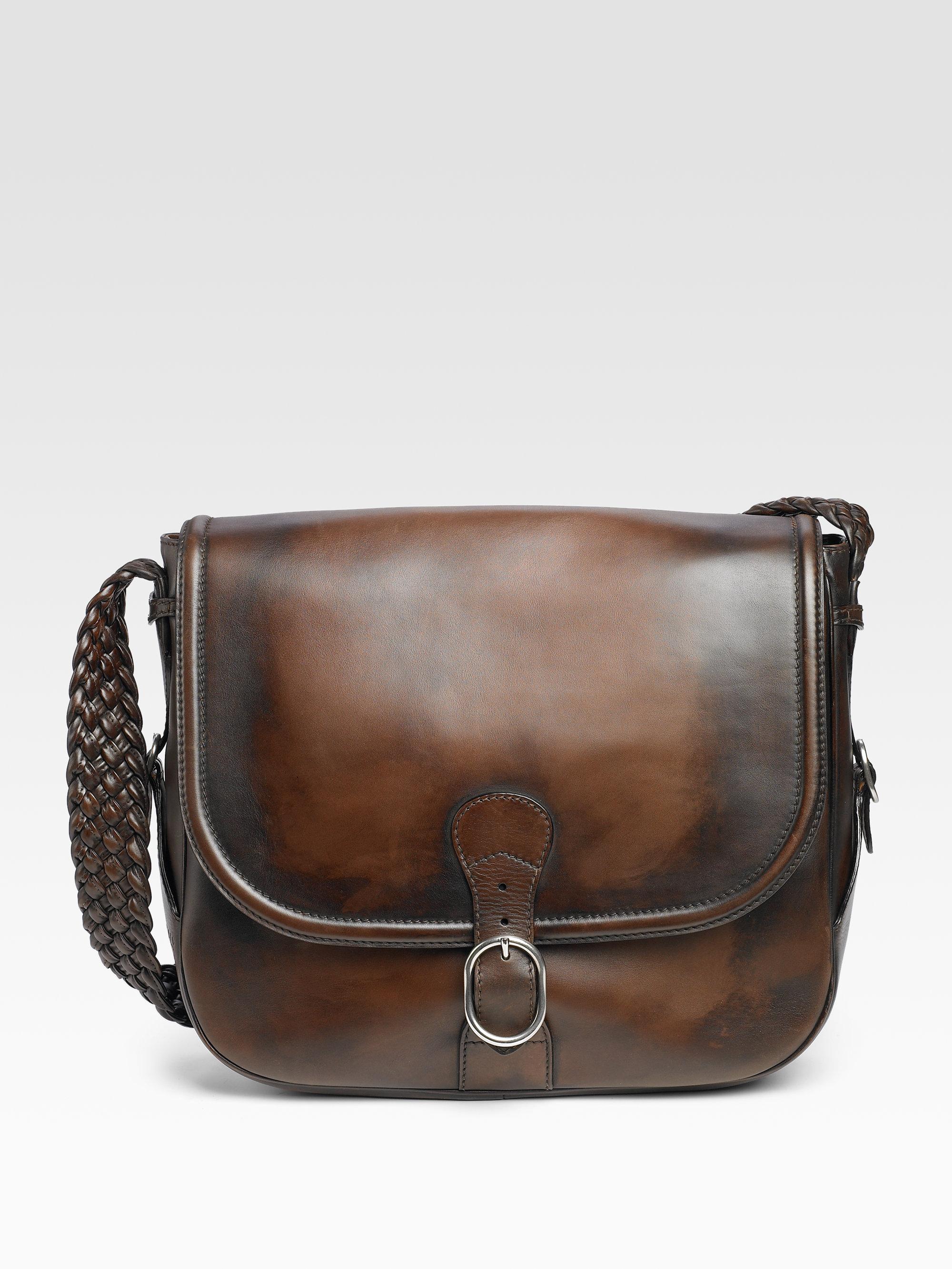 lyst gucci messenger bag in brown for men. Black Bedroom Furniture Sets. Home Design Ideas