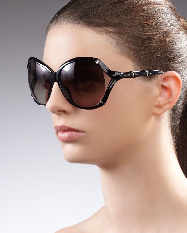 87eba134f580 Gucci Round Plastic Bambooshaped Sunglasses in Black - Lyst