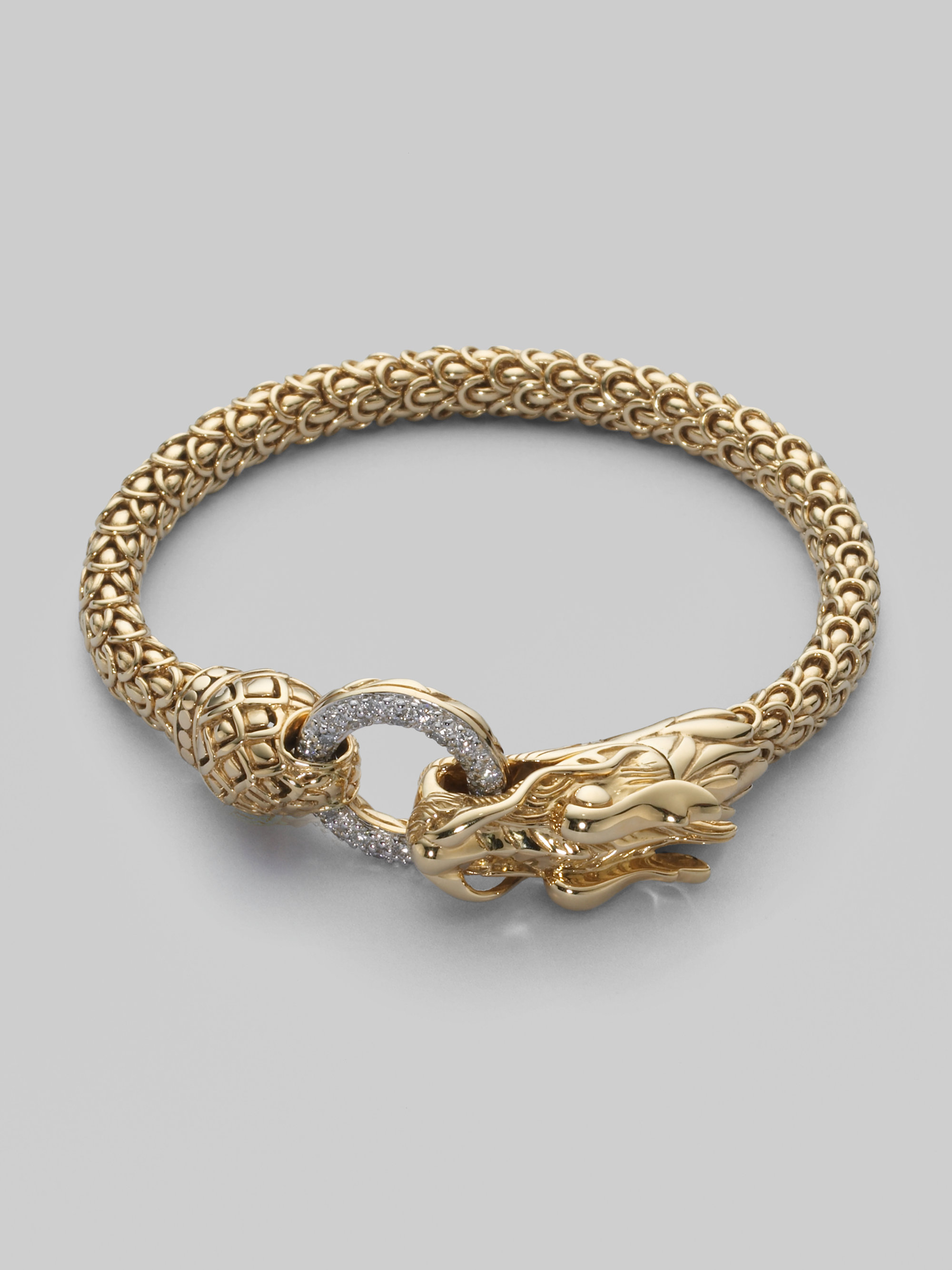 John Hardy Diamond Amp 18k Gold Dragon Bracelet In Metallic