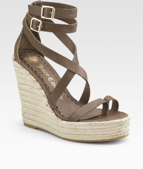 Juicy Couture Giana Anklewrap Espadrilles in Brown (taupe)