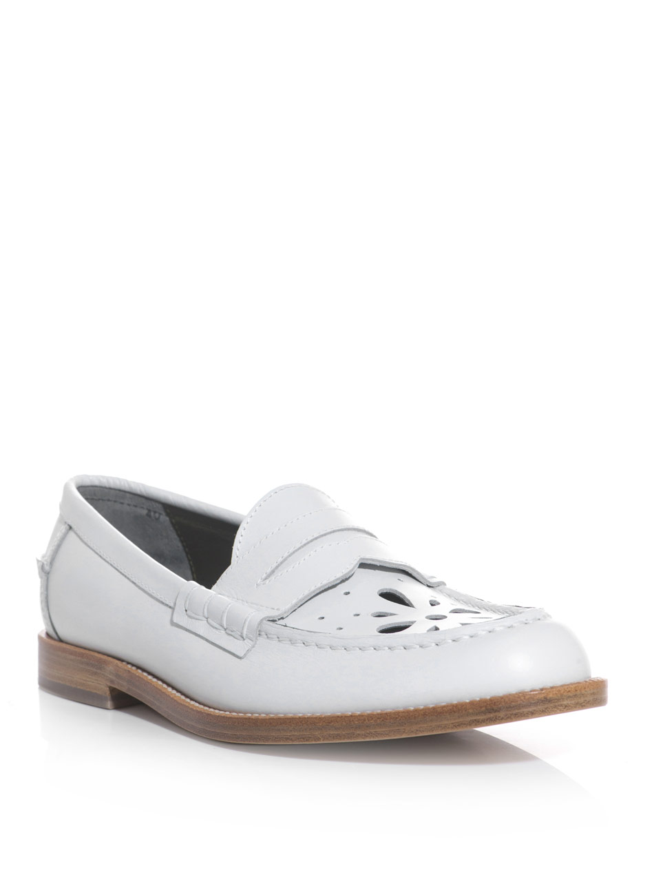 Julien David Lasercut Leather Moccasin Shoes In White Lyst