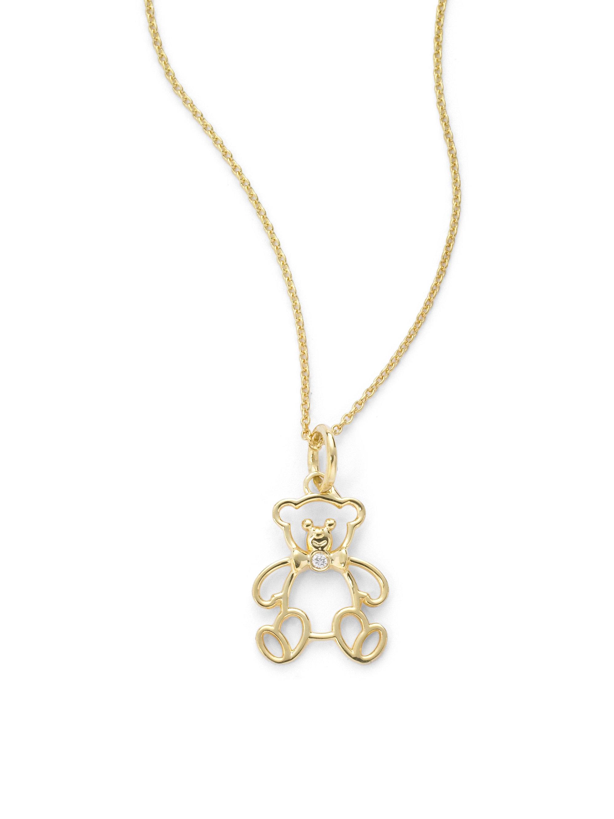 f5a28accb54947 Lyst Kc Designs Diamond Teddy Bear Pendant Necklace In Metallic