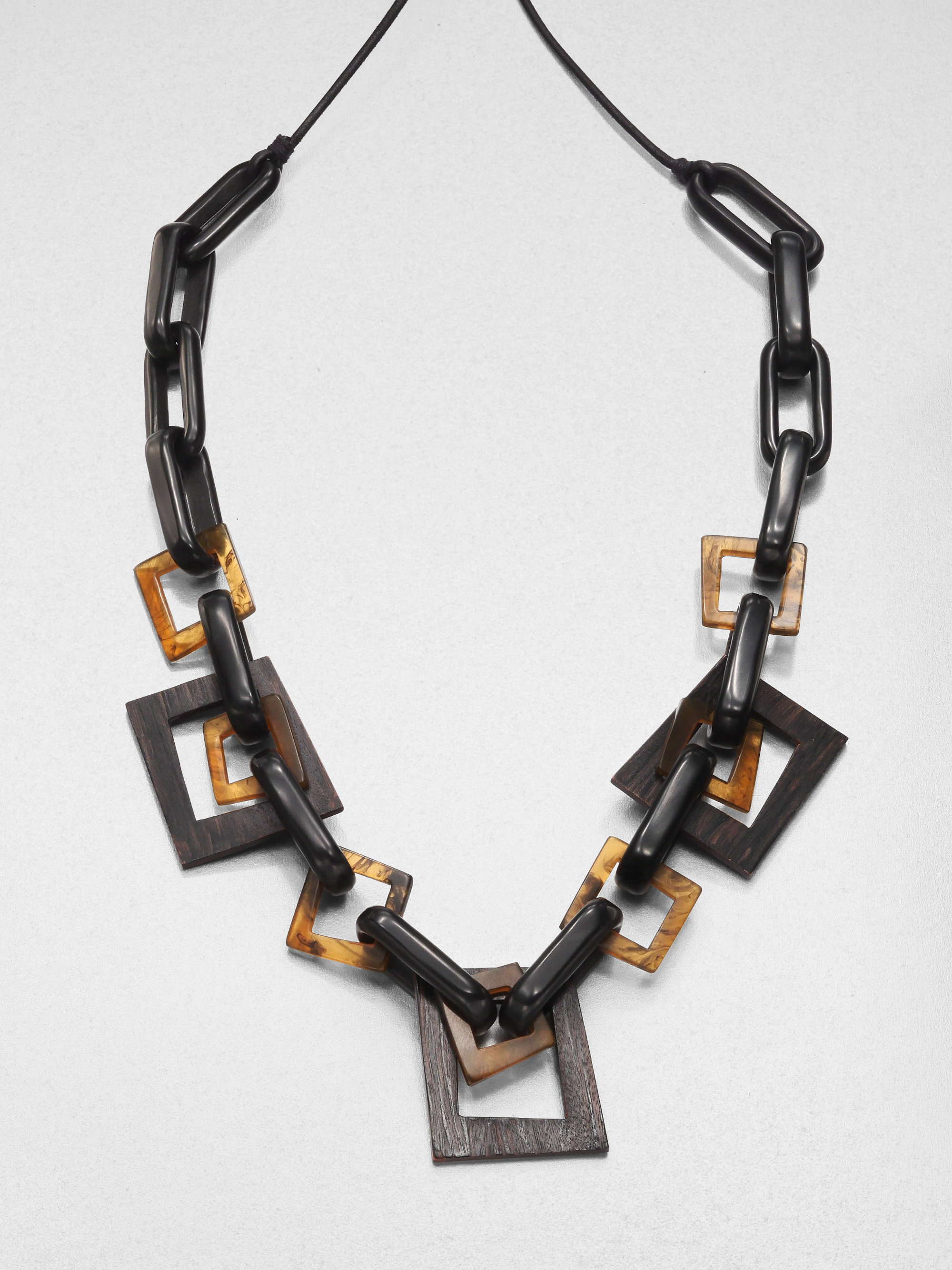 Lafayette 148 New York Wood Resin Leather Link Necklace in ...