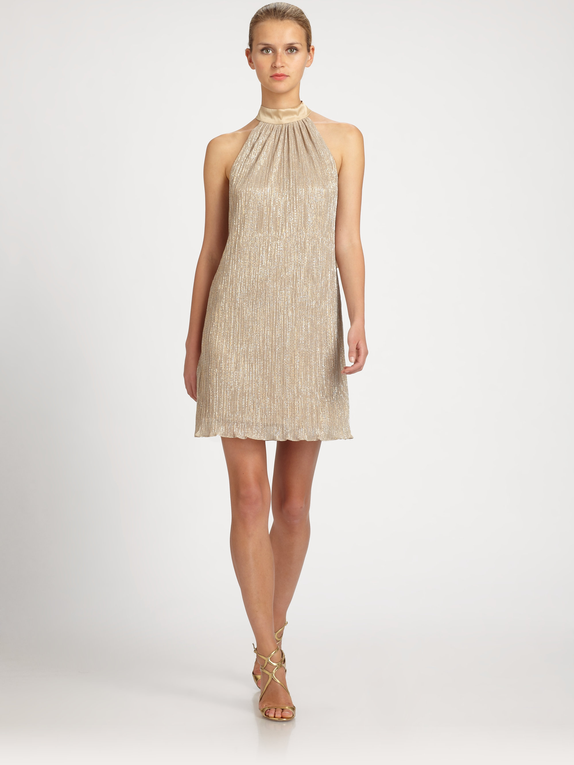 3657fcc93c98 Laundry by Shelli Segal Metallic Bowback Trapeze Dress in Natural - Lyst