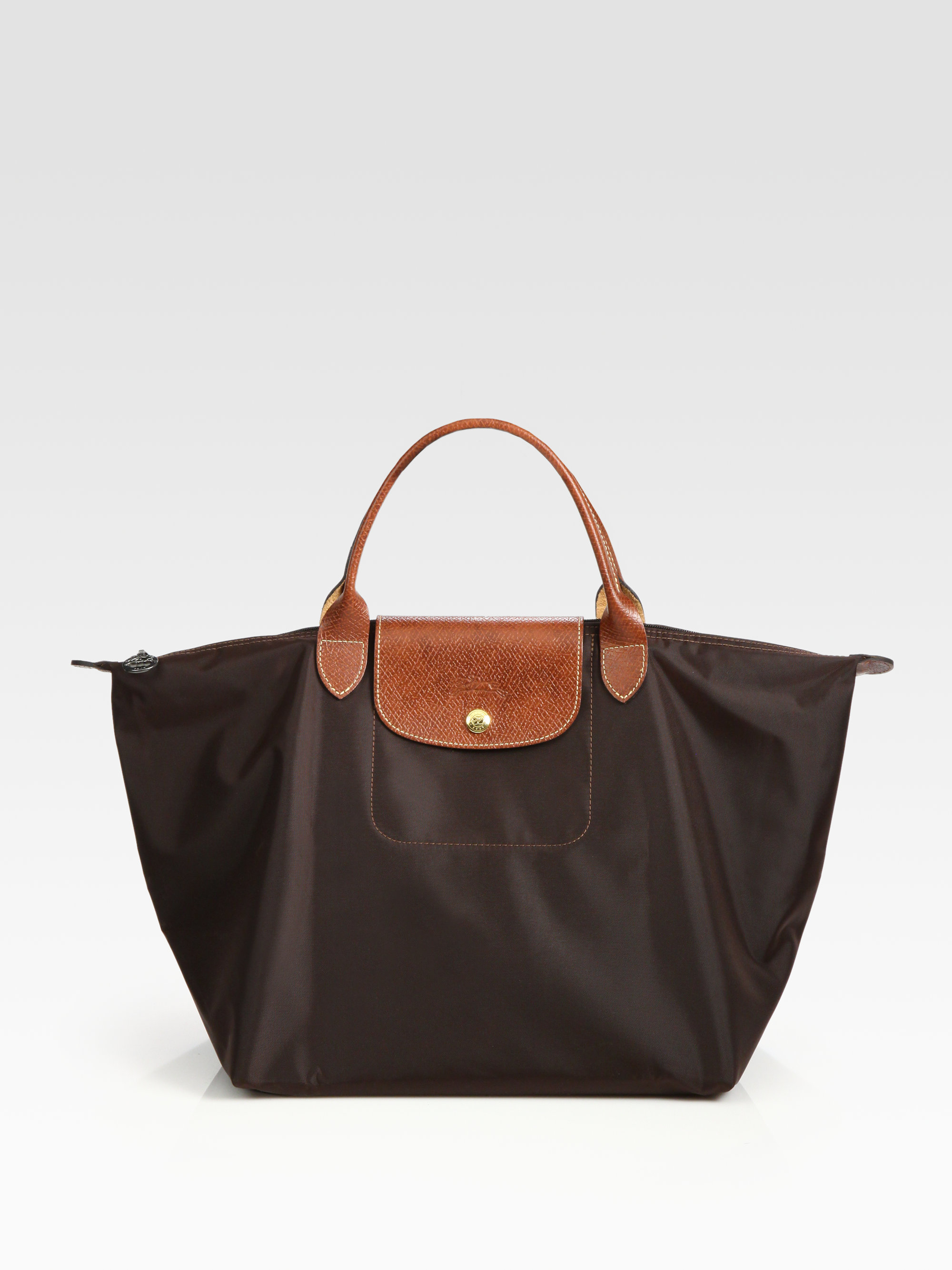 longchamp le pliage medium tote in black lyst. Black Bedroom Furniture Sets. Home Design Ideas