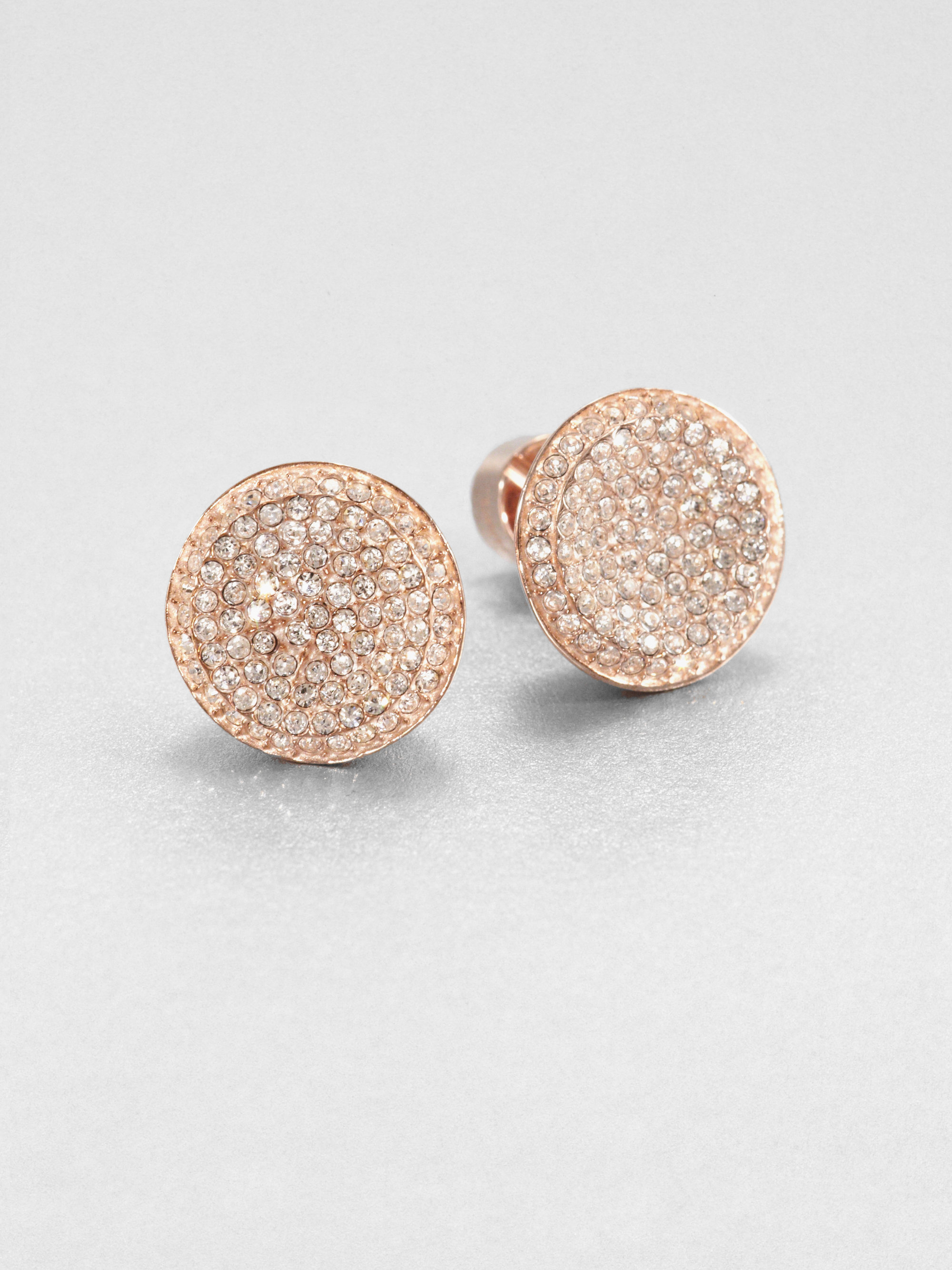 Lyst Michael Kors Concave Sparkle Stud Earrings in Pink