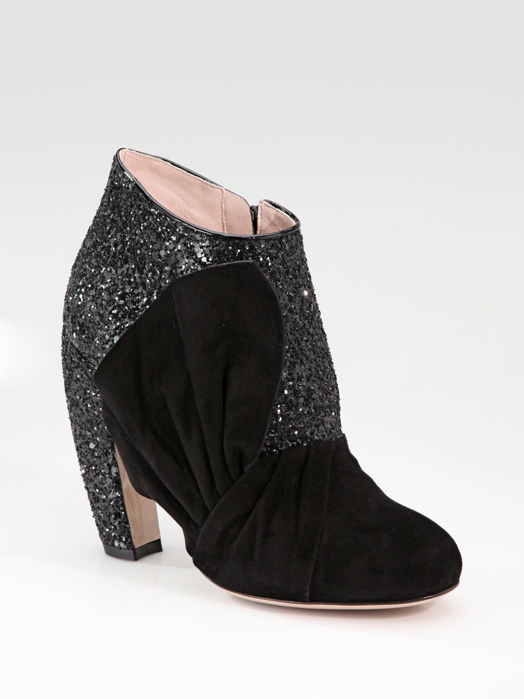 6b20d7c6e96e Lyst - Miu Miu Glitter Suede Bow Ankle Boots in Black