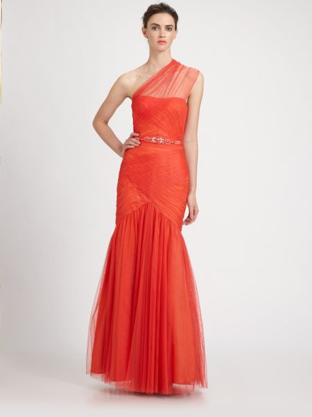 Ml Monique Lhuillier Tulle Trumpet Gown in  (coral) - Lyst