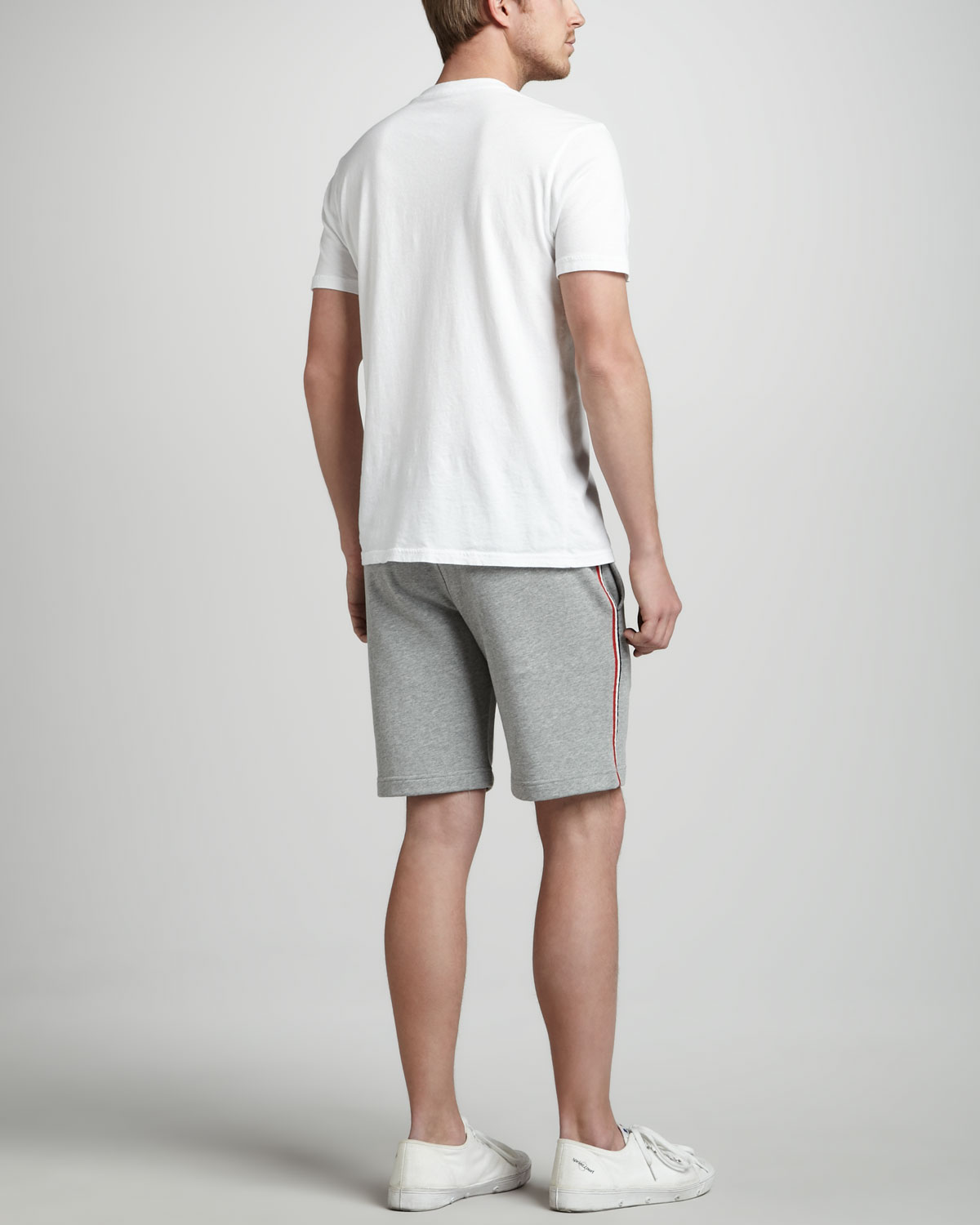 974301aef Lyst - Moncler Flag Trim Sweatshorts in Gray for Men