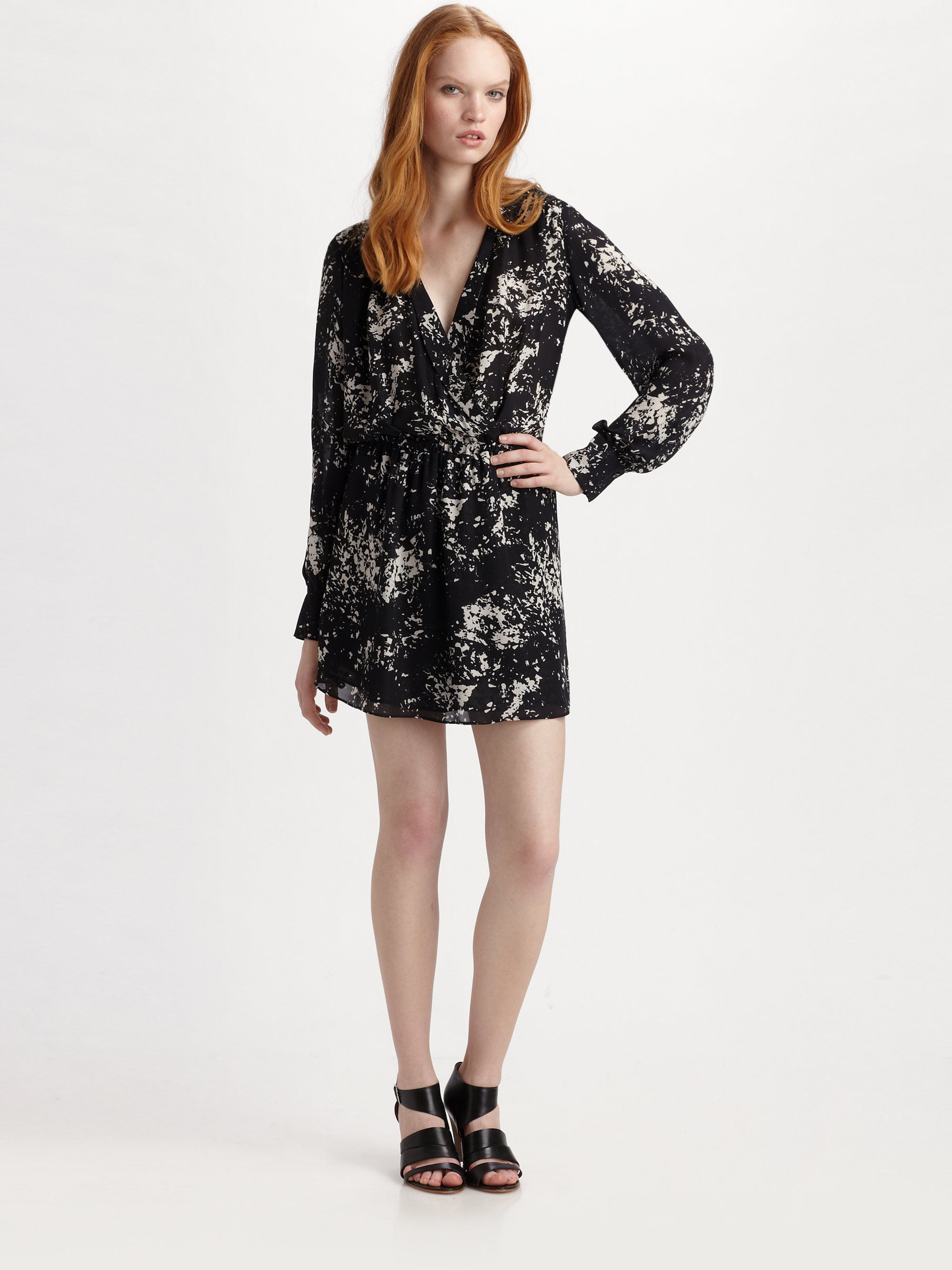 Parker Silk Print Wrap Dress In Black White Spec Lyst