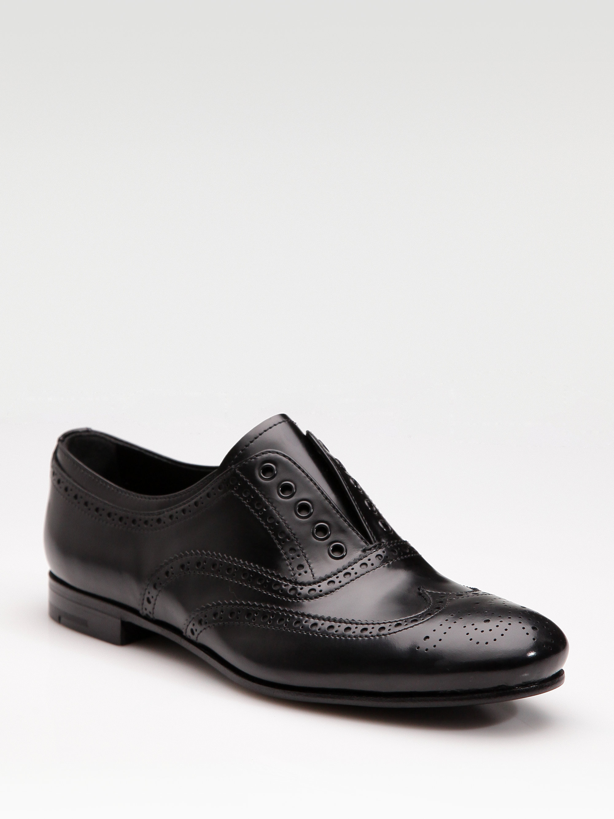 Prada Laceless Oxfords In Black | Lyst