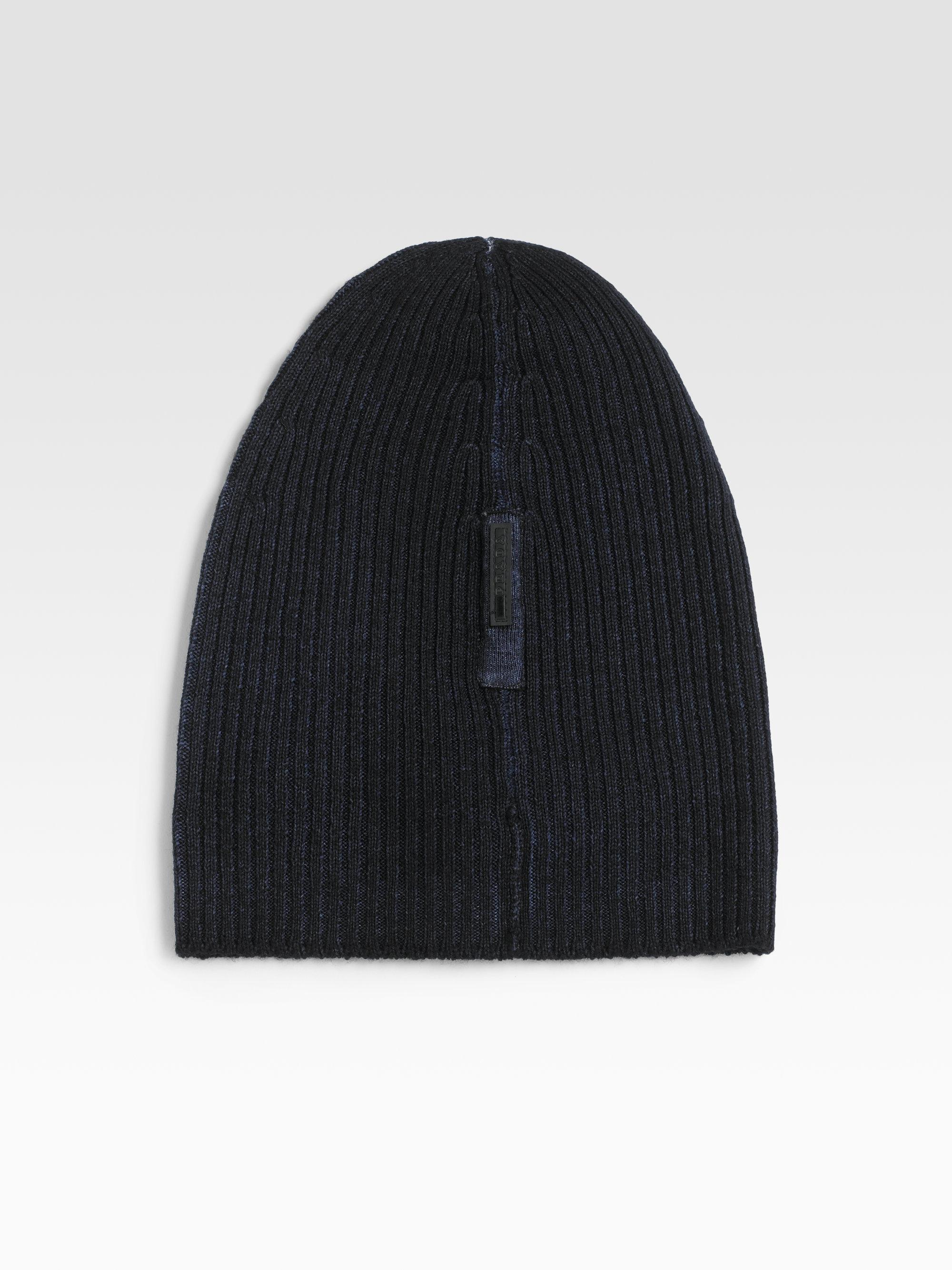 Lyst - Prada Wool Skull Cap in Blue for Men 243fd13b08cd