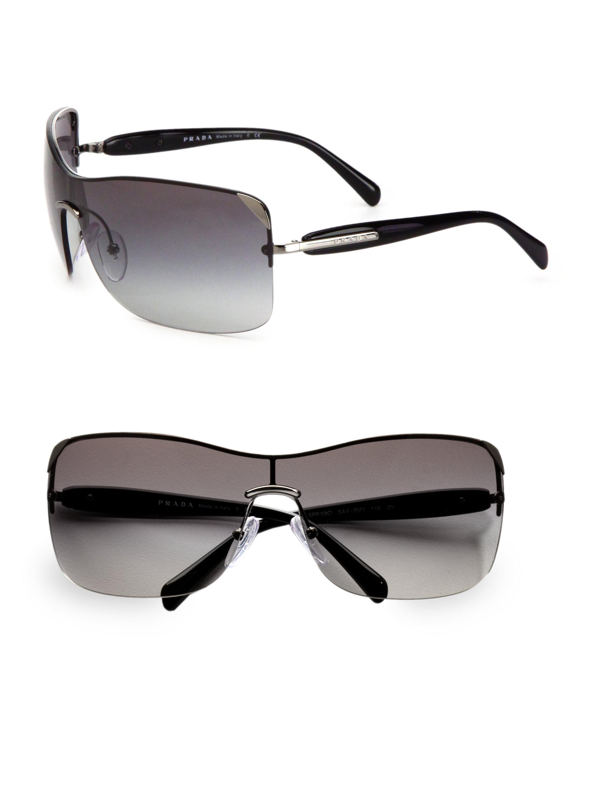 Prada Shield Sunglasses  prada rectangular rimless shield sunglasses in brown lyst
