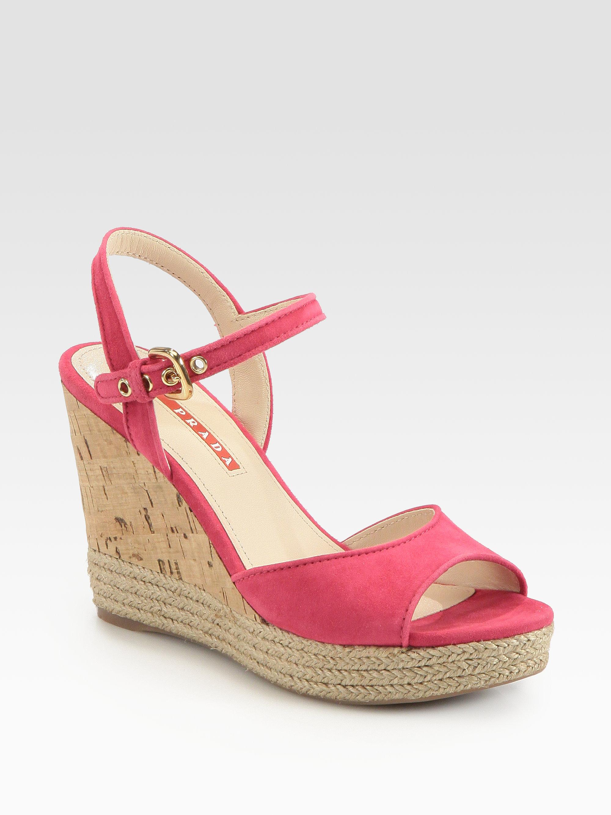 8573fae68c Prada Suede Cork Wedge Sandals in Pink - Lyst