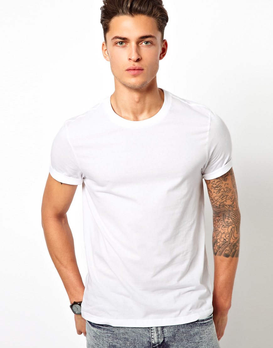 river island basic tshirt in white for men lyst. Black Bedroom Furniture Sets. Home Design Ideas