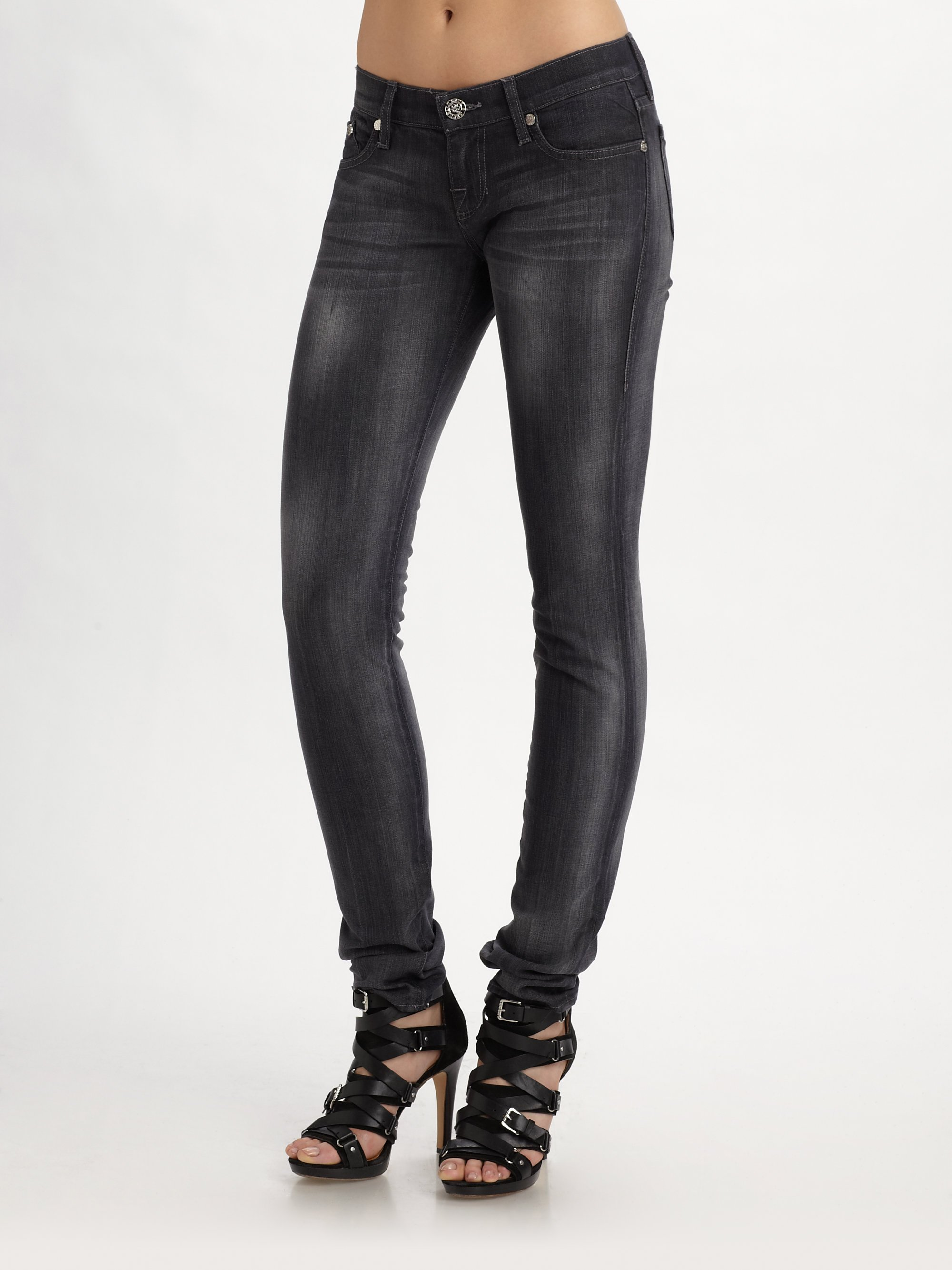 lyst rock republic crazy b low rise skinny jeans in gray. Black Bedroom Furniture Sets. Home Design Ideas