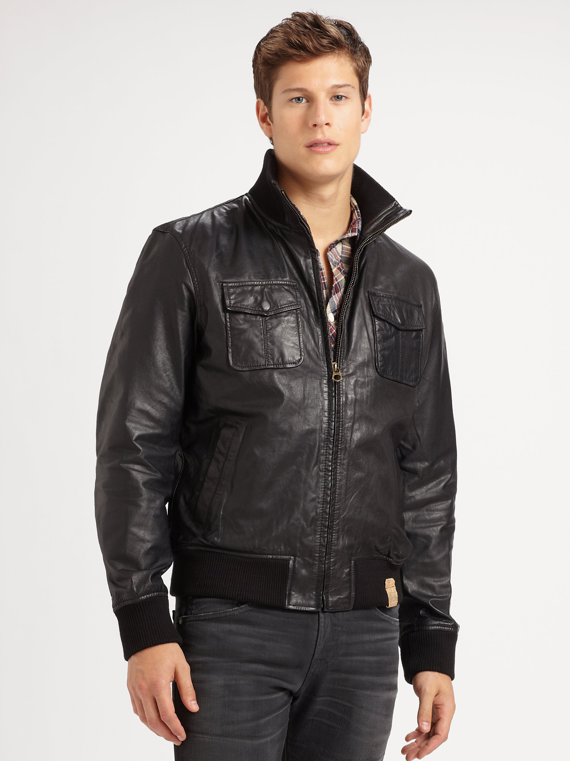 Scotch & soda Leather Bomber Jacket in Black for Men | Lyst