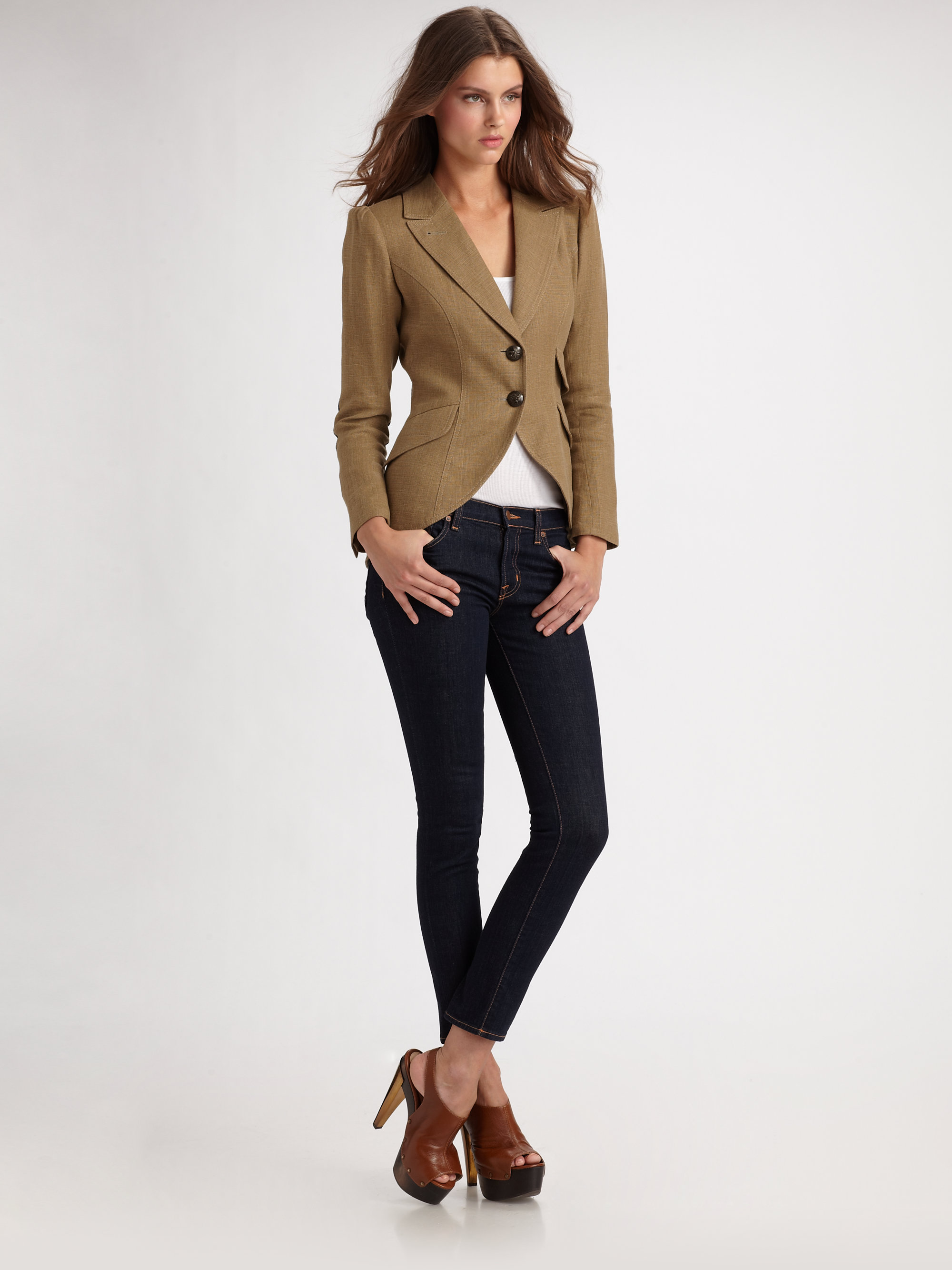 Smythe Equesterian Jacket In Brown Lyst