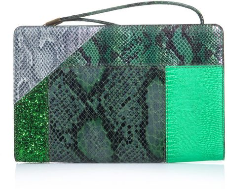Stella Mccartney Faux Python Patchwork Clutch in Green