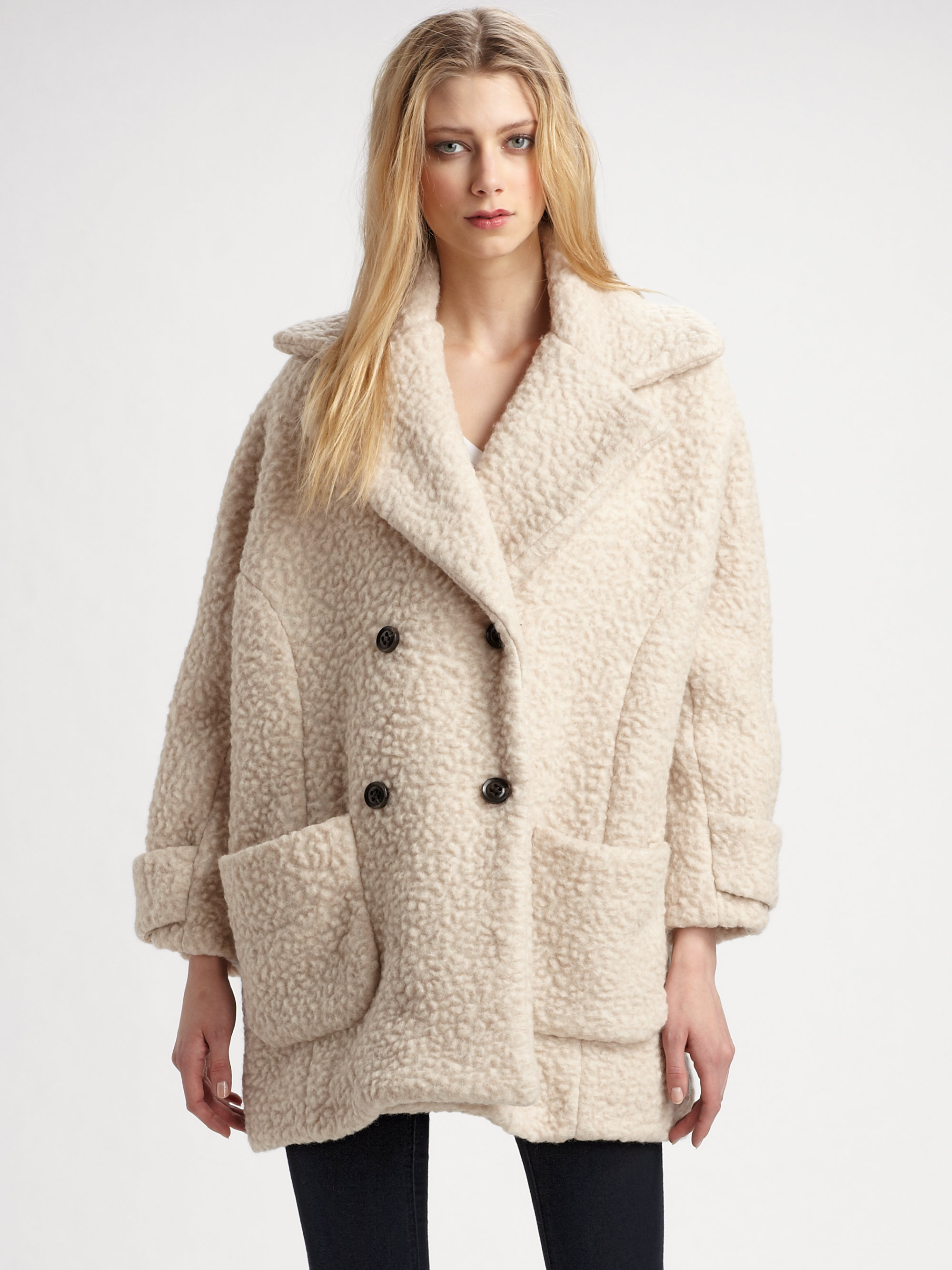Surface to air Teddy Fleece Peacoat in Natural | Lyst