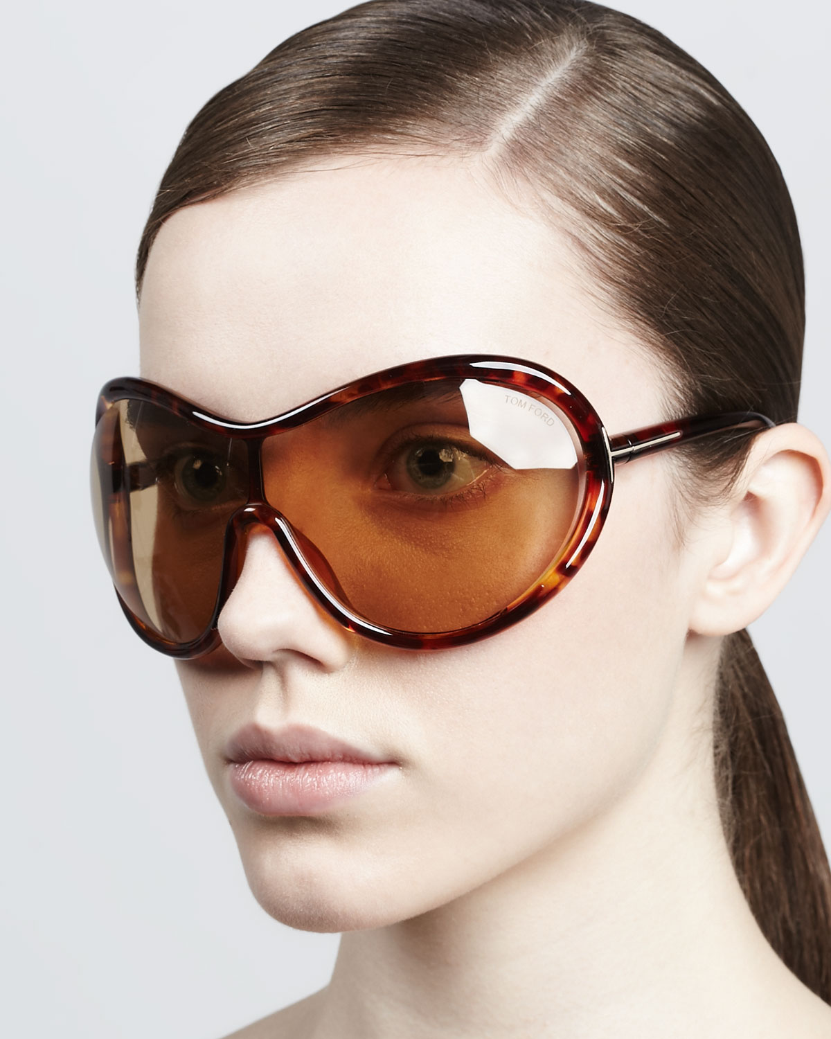 ece0b3fde429 Lyst - Tom Ford Grant Oversized Shield Sunglasses in Brown
