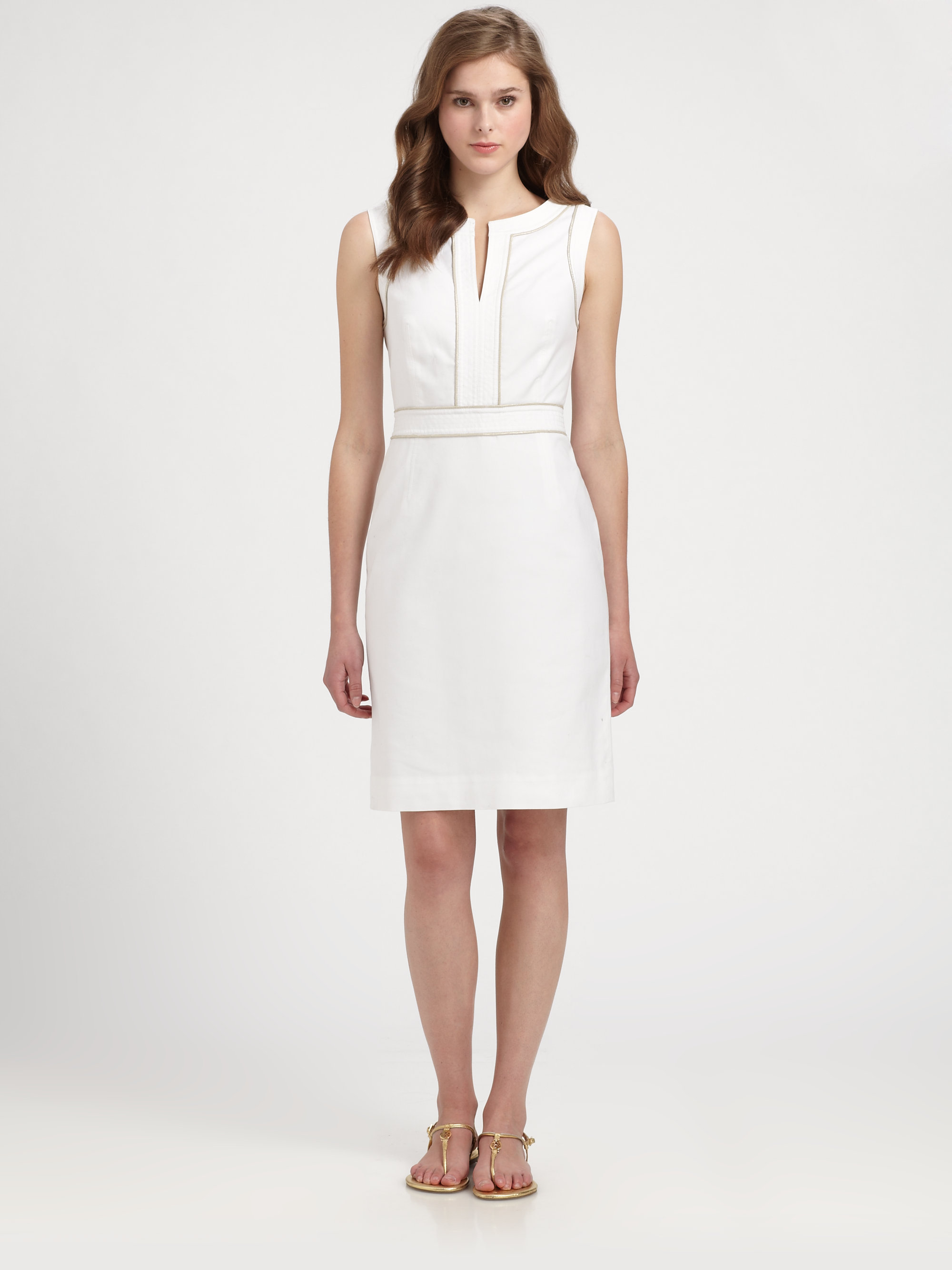 Lyst tory burch zoie dress in white for Tory burch fashion island