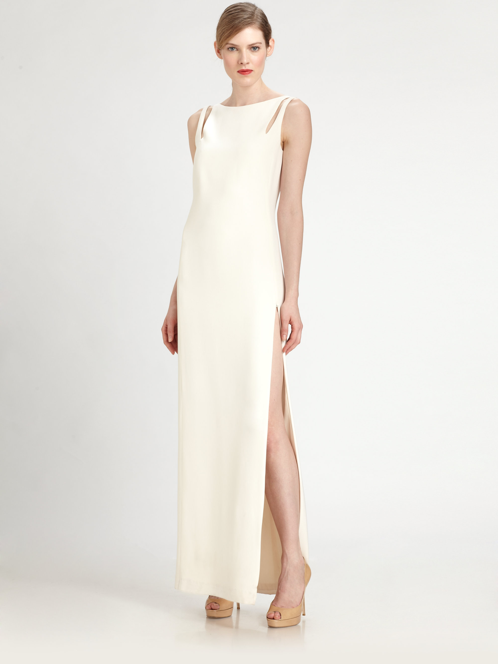 Lyst - Akris Silk Crepe Gown in White