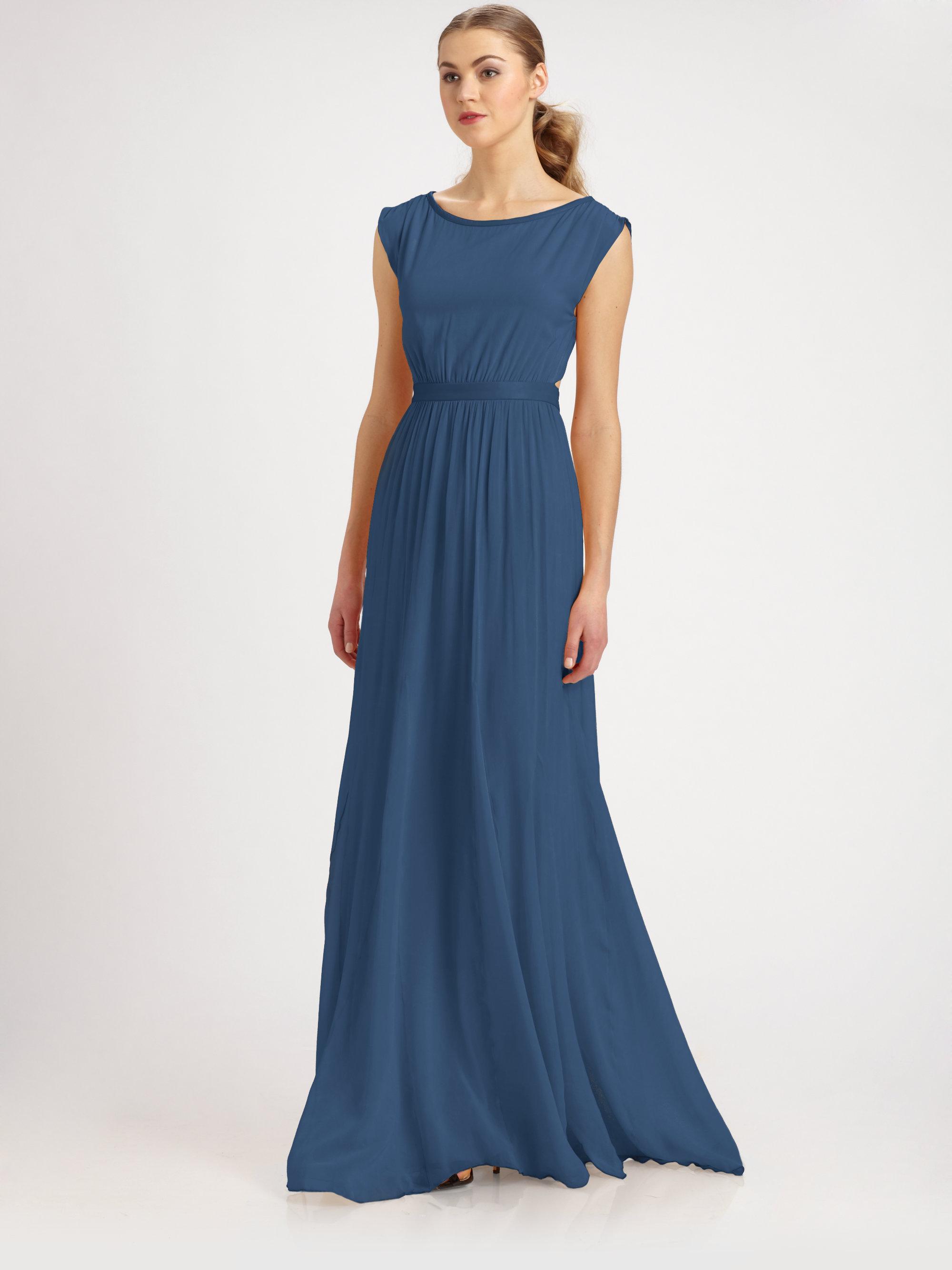 Alice and olivia blue silk dress