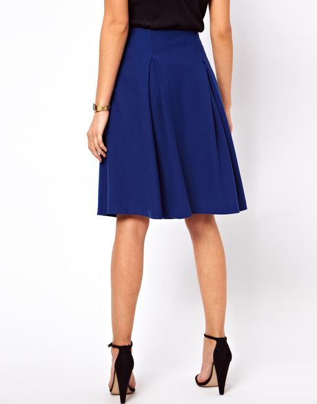 asos collection midi skirt in ponte with pleats in blue