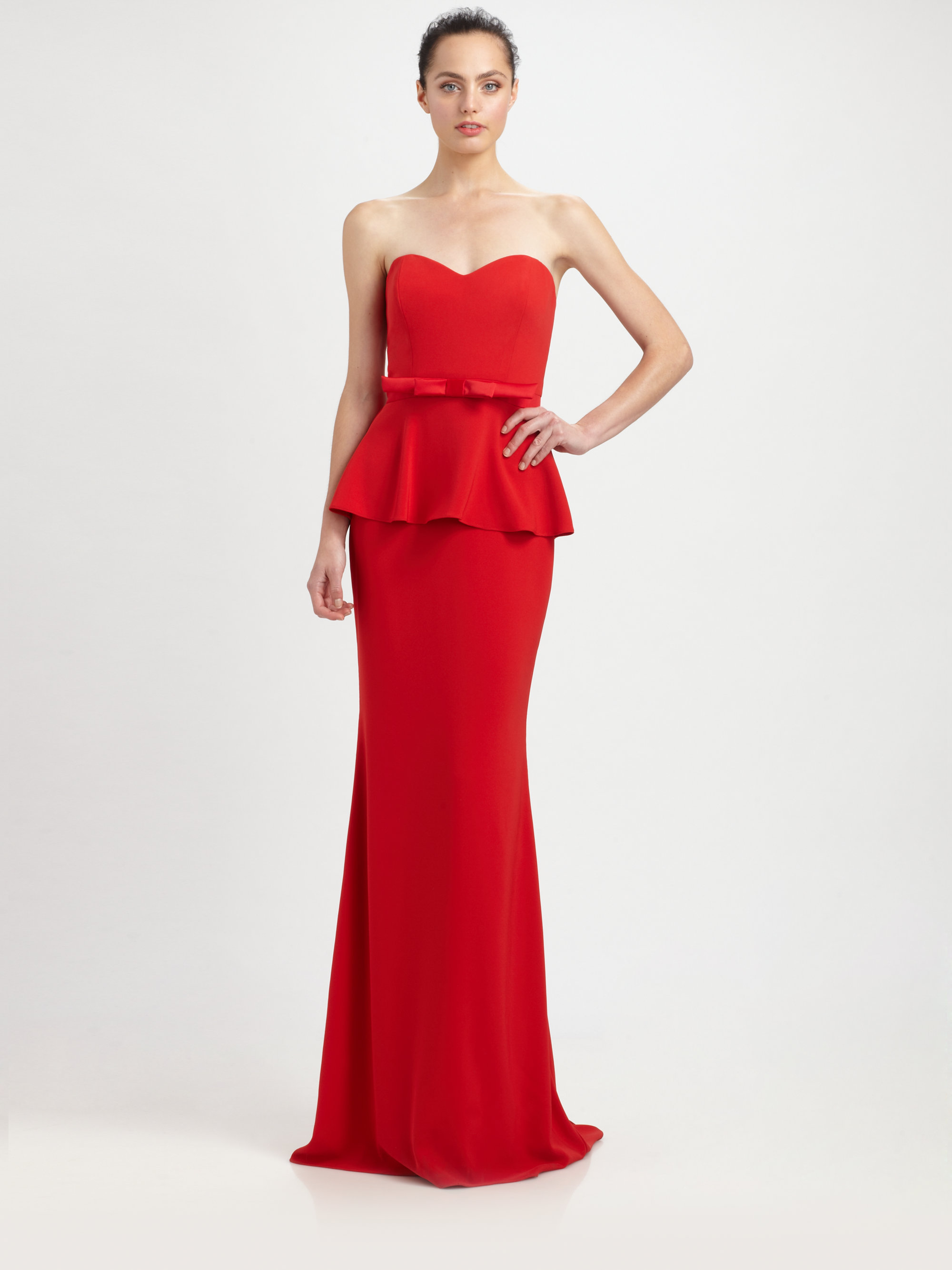52e3adc09fe11 Badgley Mischka Strapless Peplum Gown in Red - Lyst